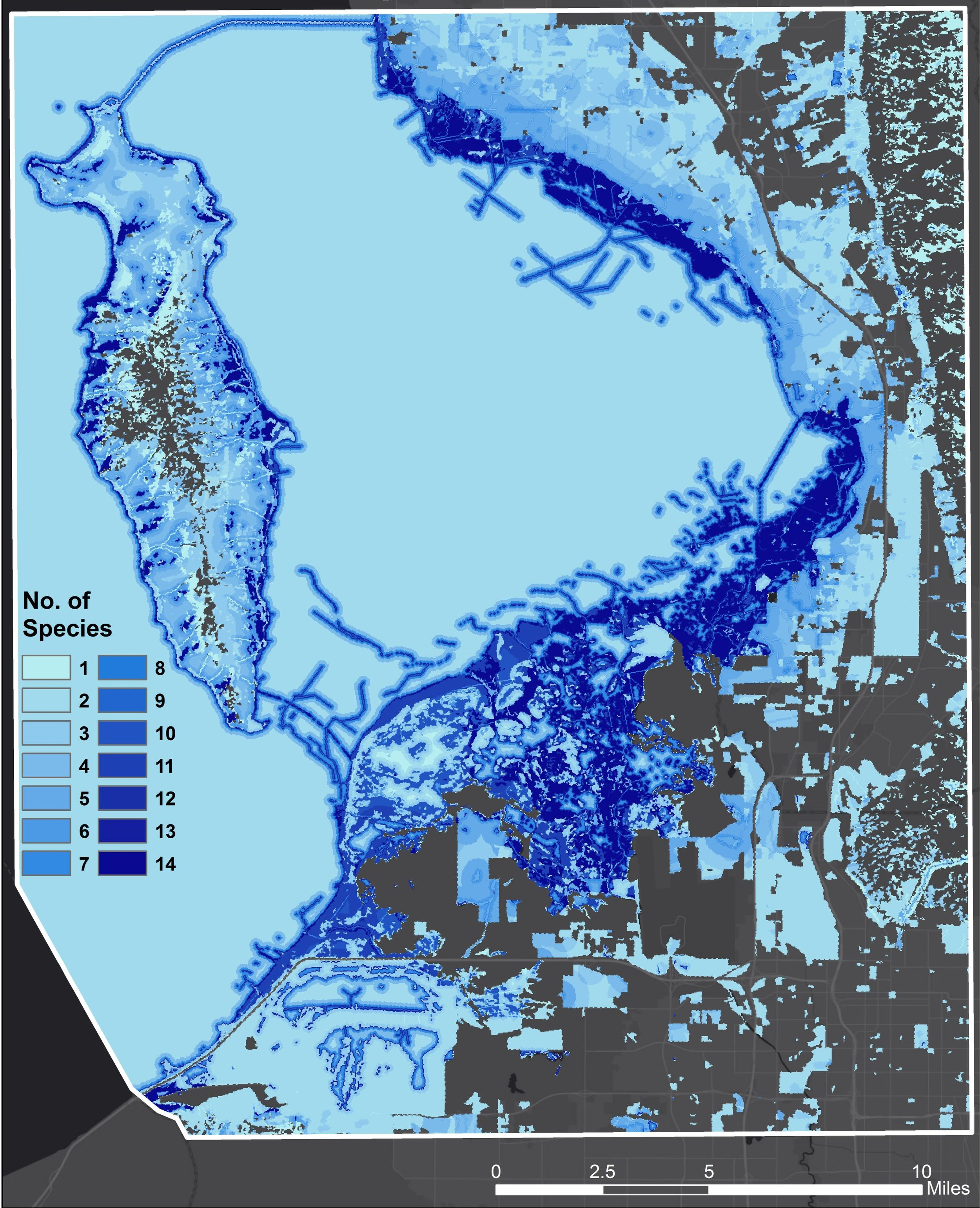 Figure 3: Mapped habitats of all 15 representative migratory bird species (includes shorebirds, waterbirds, and waterfowl). Areas with the greatest amount of species overlap are the darkest blue. Map created by Aubin Douglas using USGS GAP data.