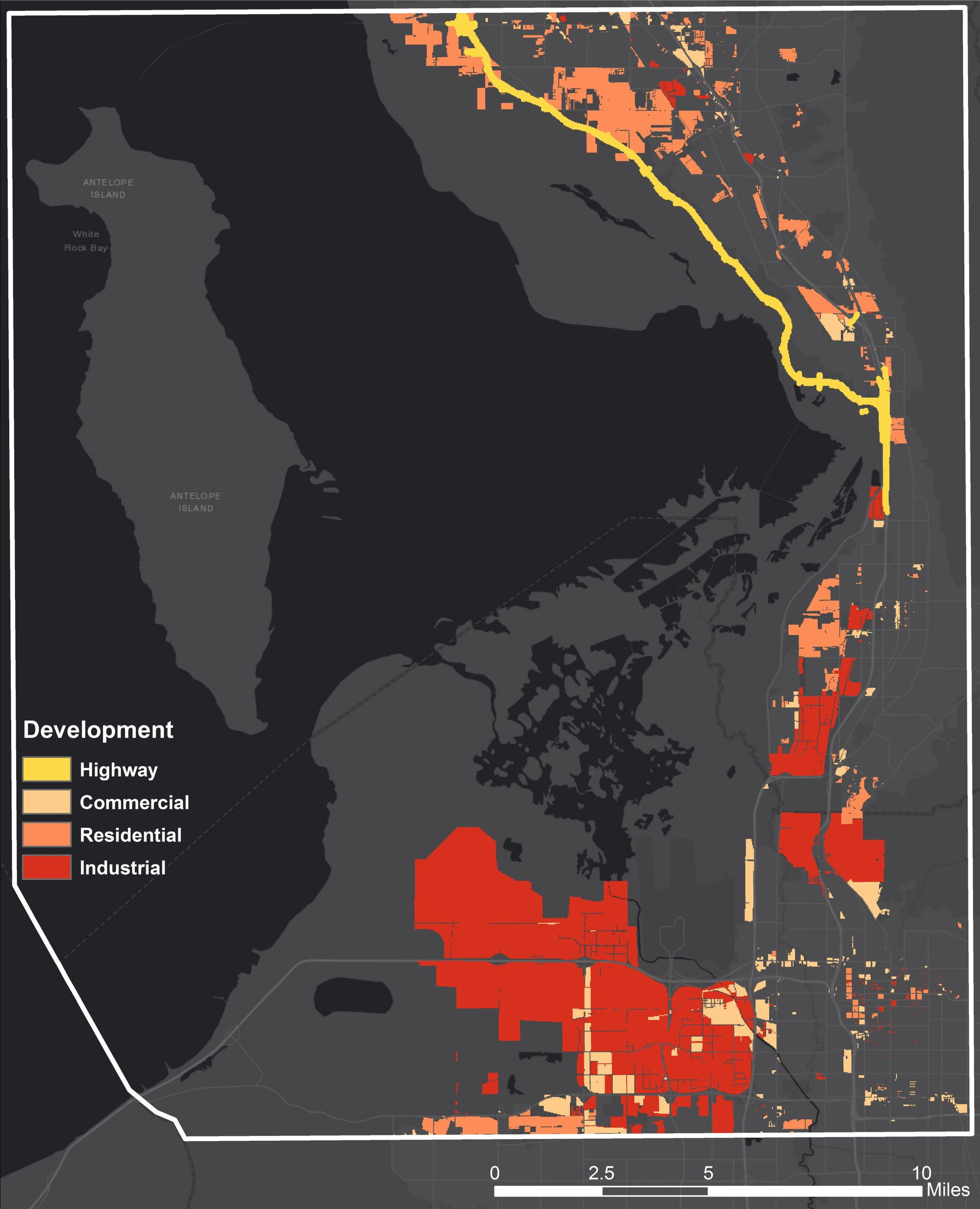 Figure 4: A map showing the footprints of all three proposed development projects. The footprints are broken down into four categories of development types: highway, commercial, residential, and industrial. Map created by Aubin Douglas.