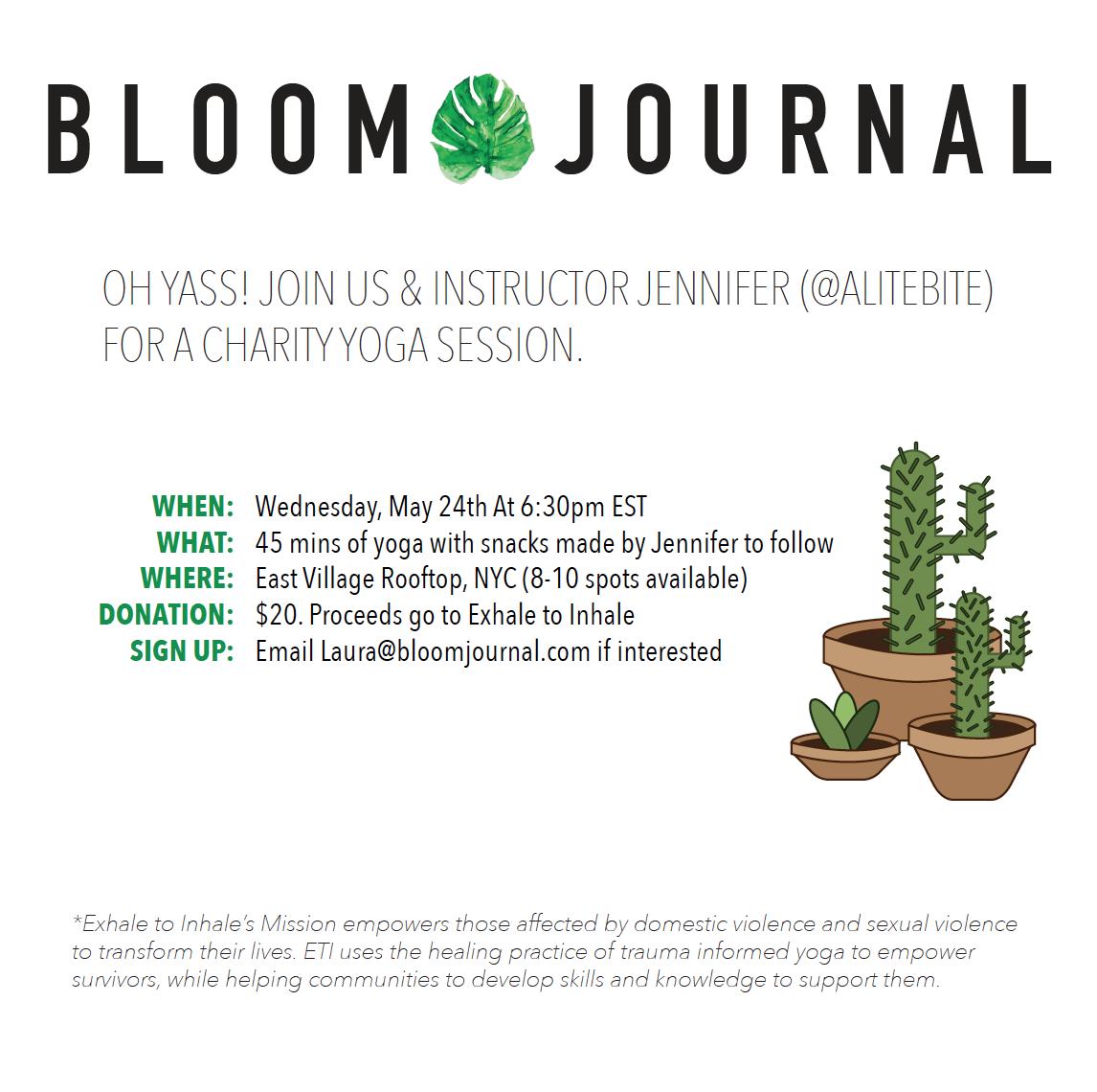 Charity Yoga: Bloom & @alitebite