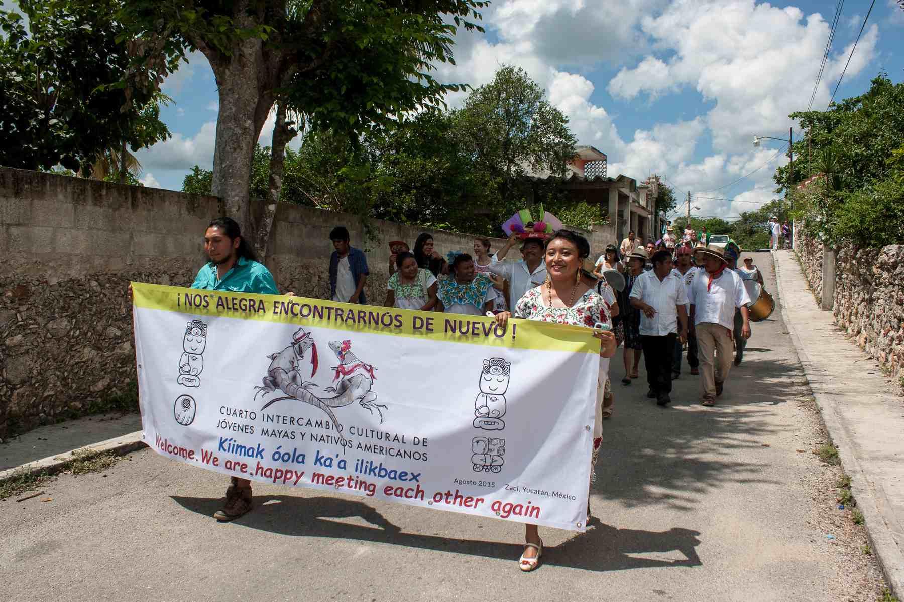 Cultural exchange parade in Saci, Yucatan