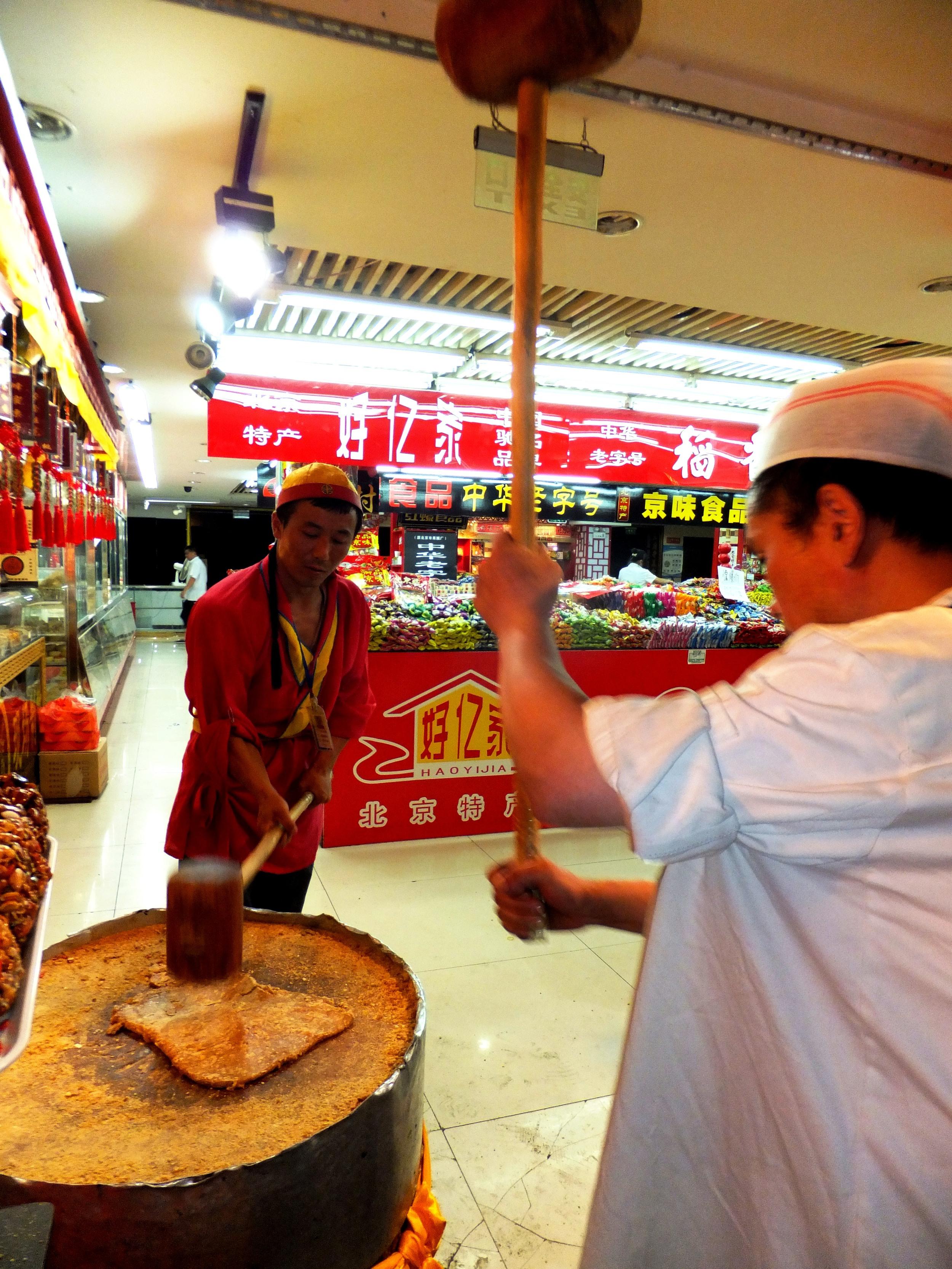 Making nut snack, Wangfujing