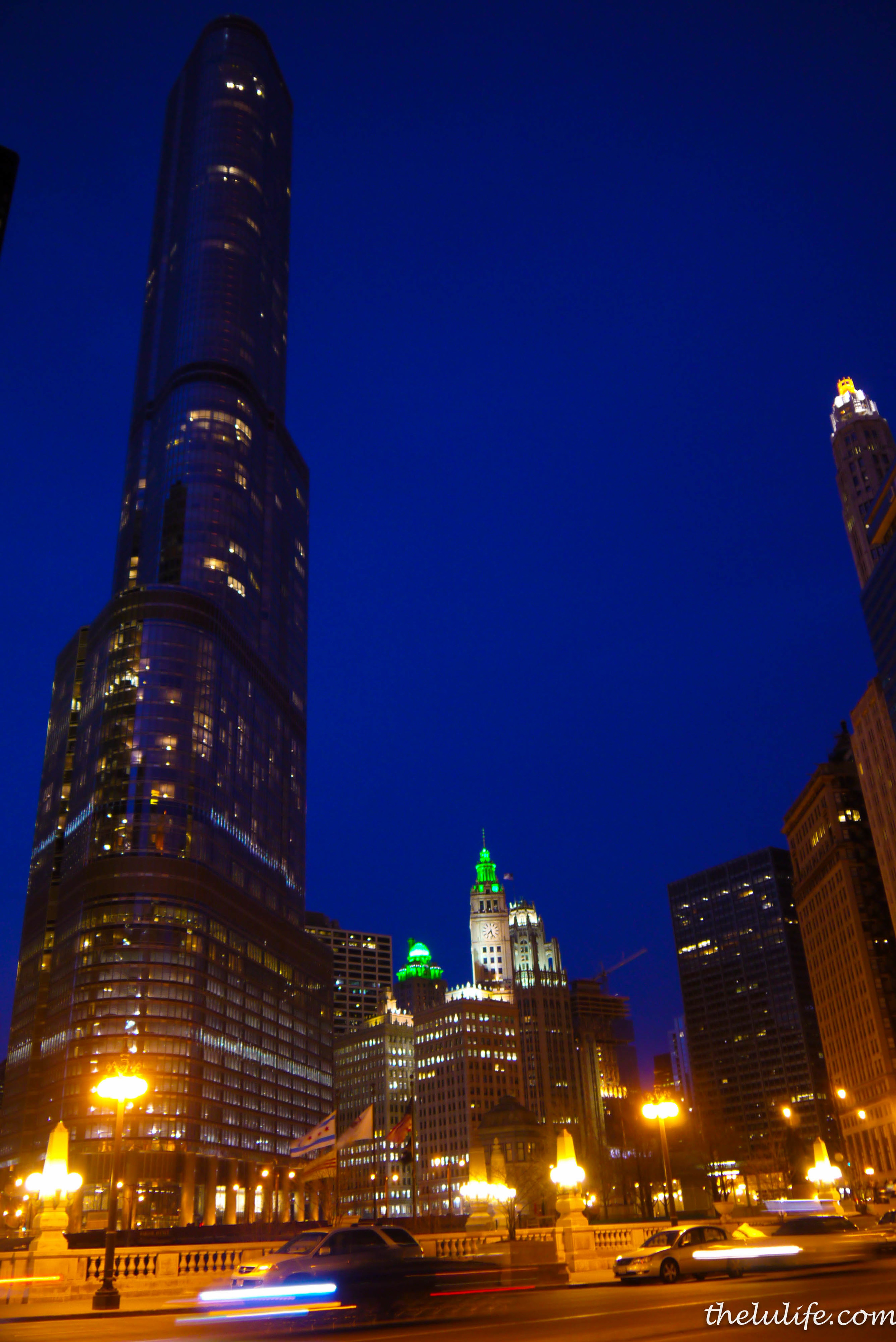 Figure 3. The green-lit domes are the Intercontinental Hotel and the Wrigley Building.