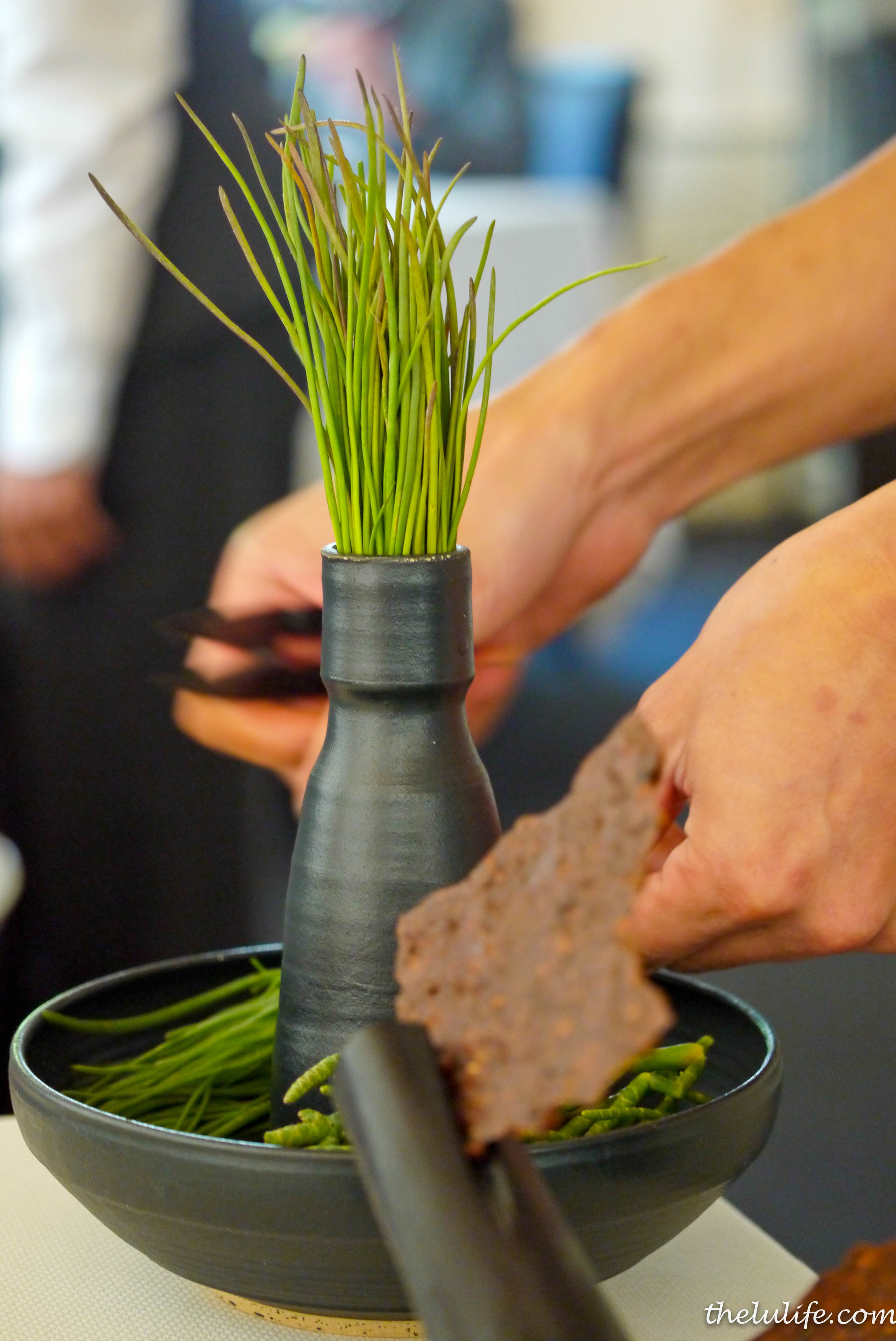 Course #3: Our server clipping the coastal grasses picked by the forager