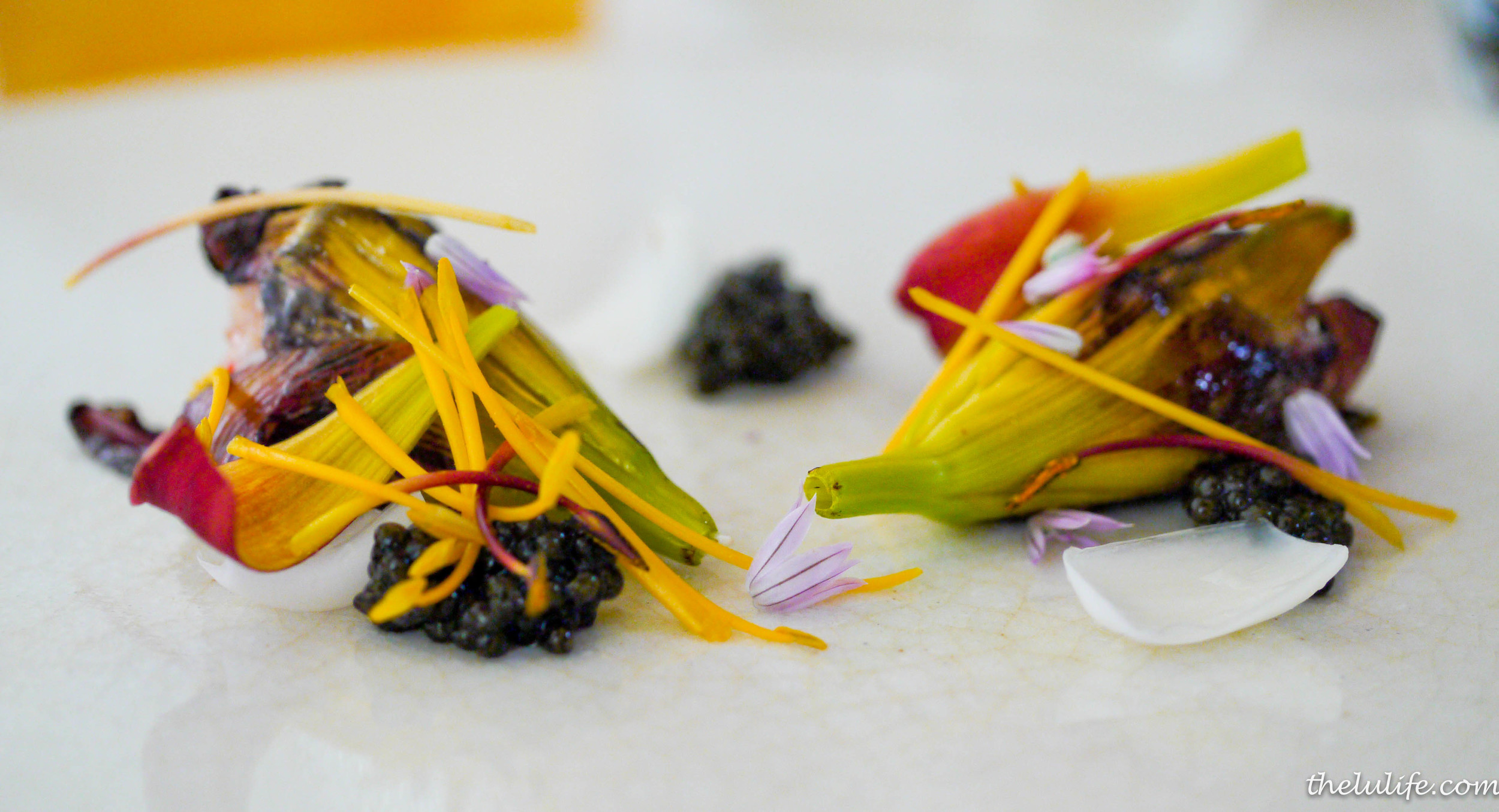 Course #5: Sterling caviar from San Francisco and day lilies stuffed with spot prawns Wow.  Never have I ever had caviar pair so nicely with other ingredients.  I guess lilies and prawns really do the trick!