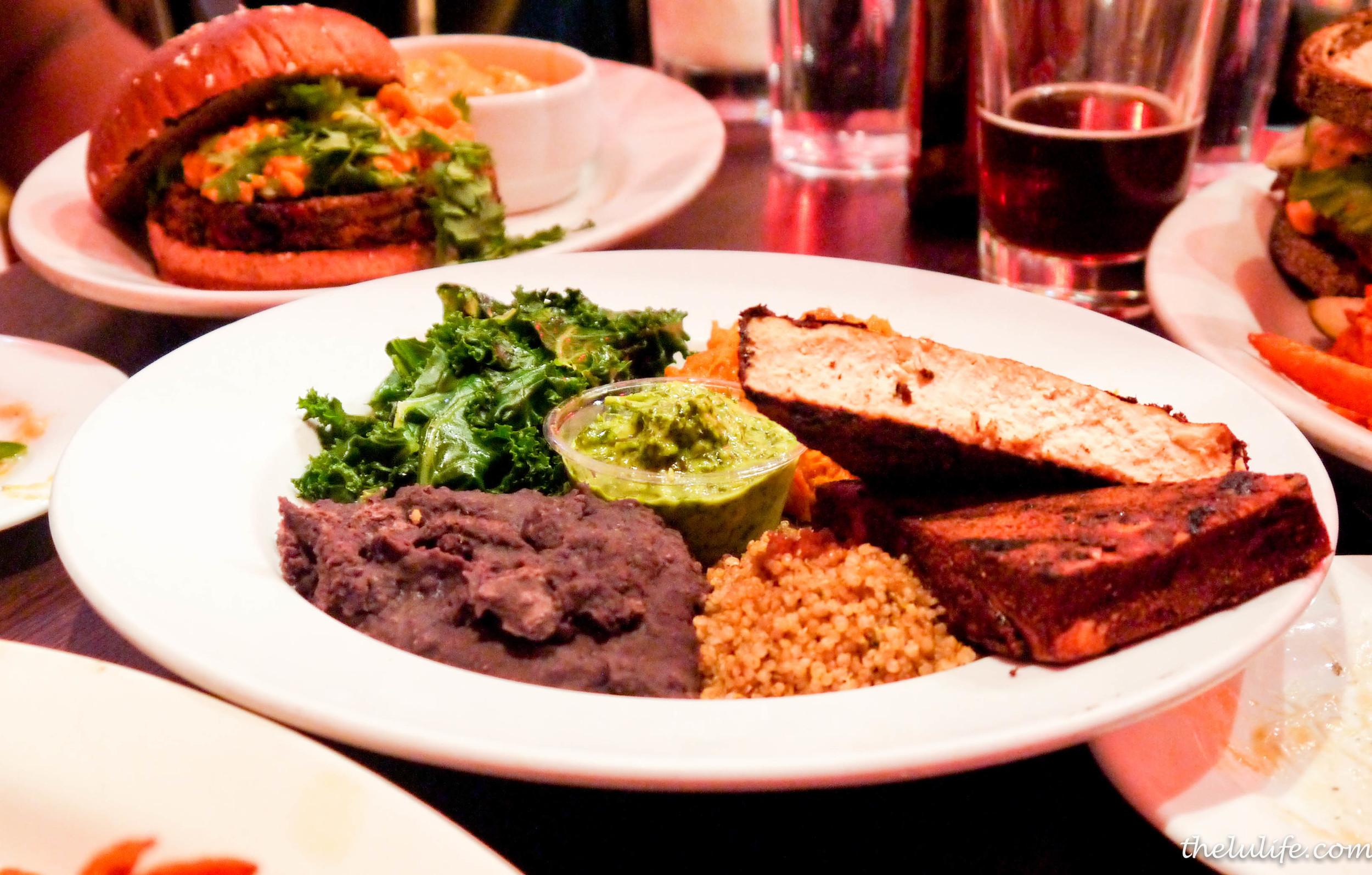 The Soul Bowl - seasoned quinoa, spicy blackened tofu, chimichurri sauce, charred balsamic brussels, mashed sweet potatoes and fat free black beans