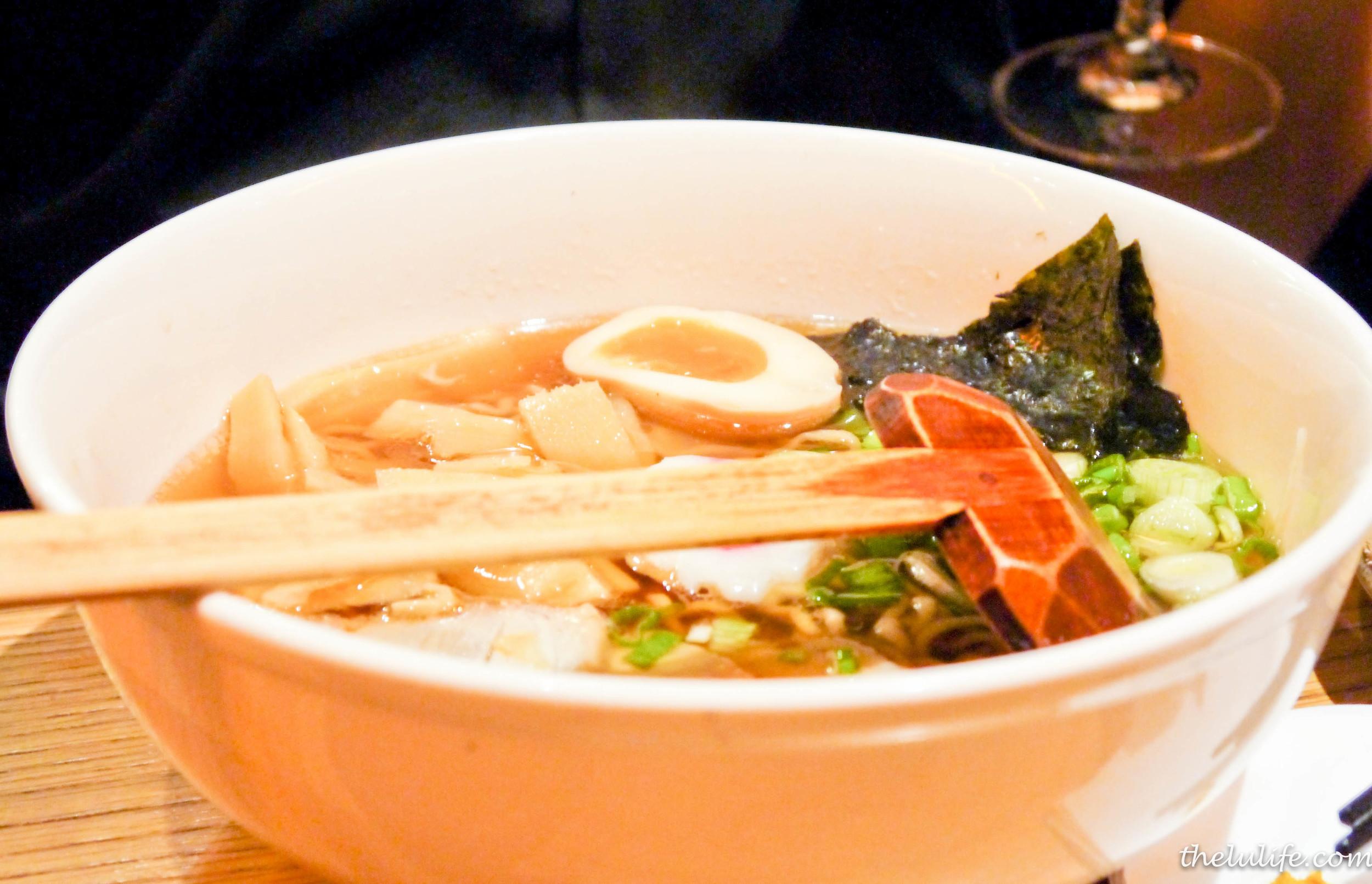 Tokyo Shoyu: thin hosomen noodles in a soy pork broth, BBQ pork, nitamago nori, pickled bamboo, naruto fish cake, spring onion and bonito flakes
