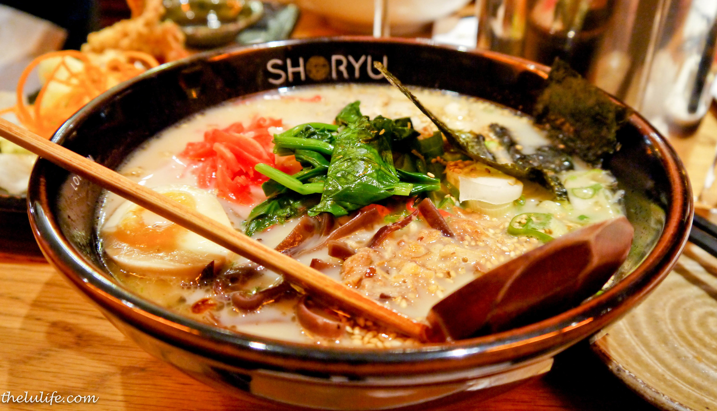 The signature Shoryu ganso tonkotsu: thin hosomen ramen in a tonkotsu and miso broth with added spinach