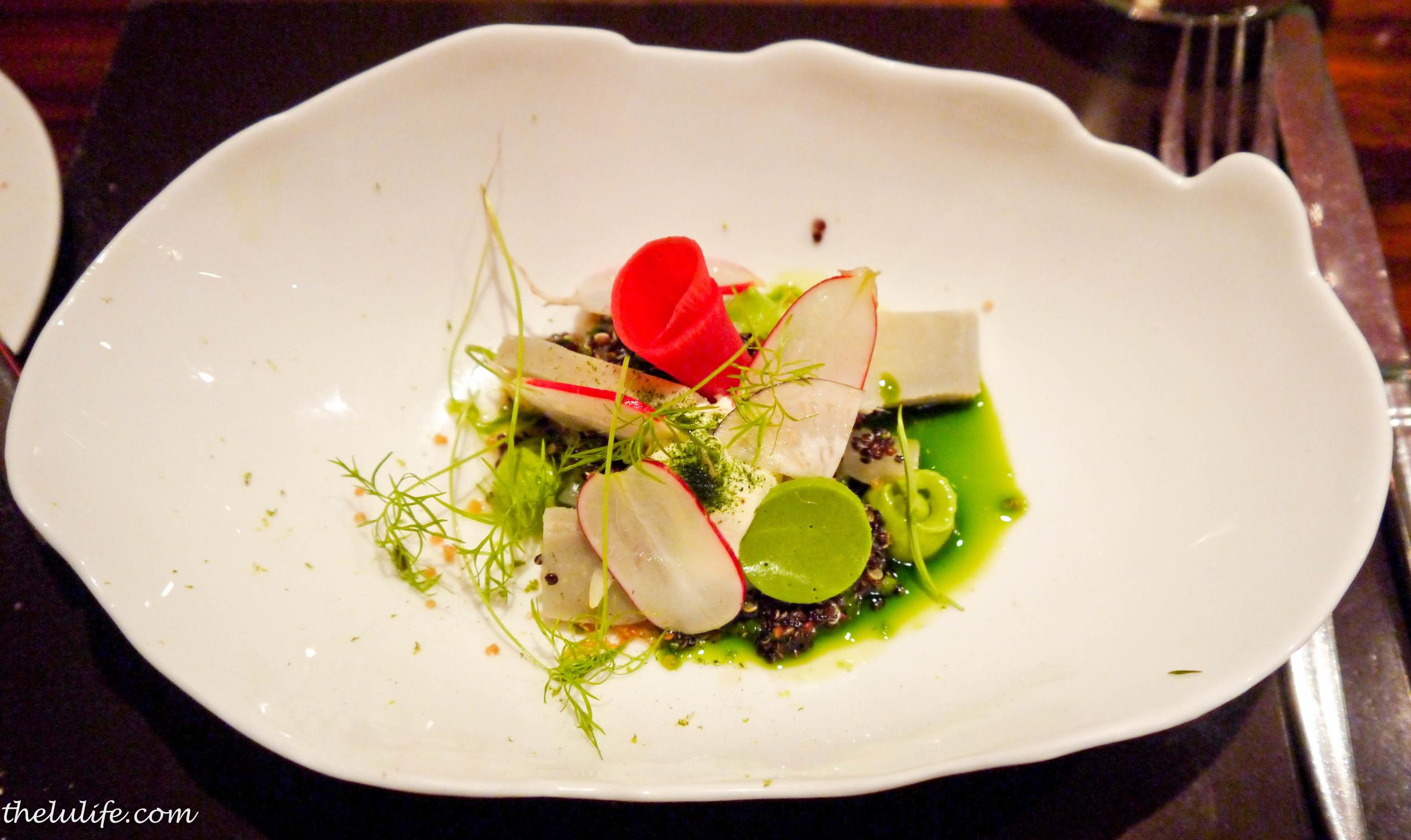 """""""Carpaccio"""" of globe artichokes with black quinoa, creme fraiche, radishes, fennel and dill"""