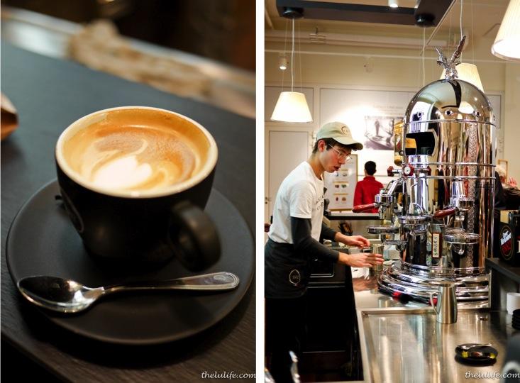 Left: Double macchiato Right: Espresso machine