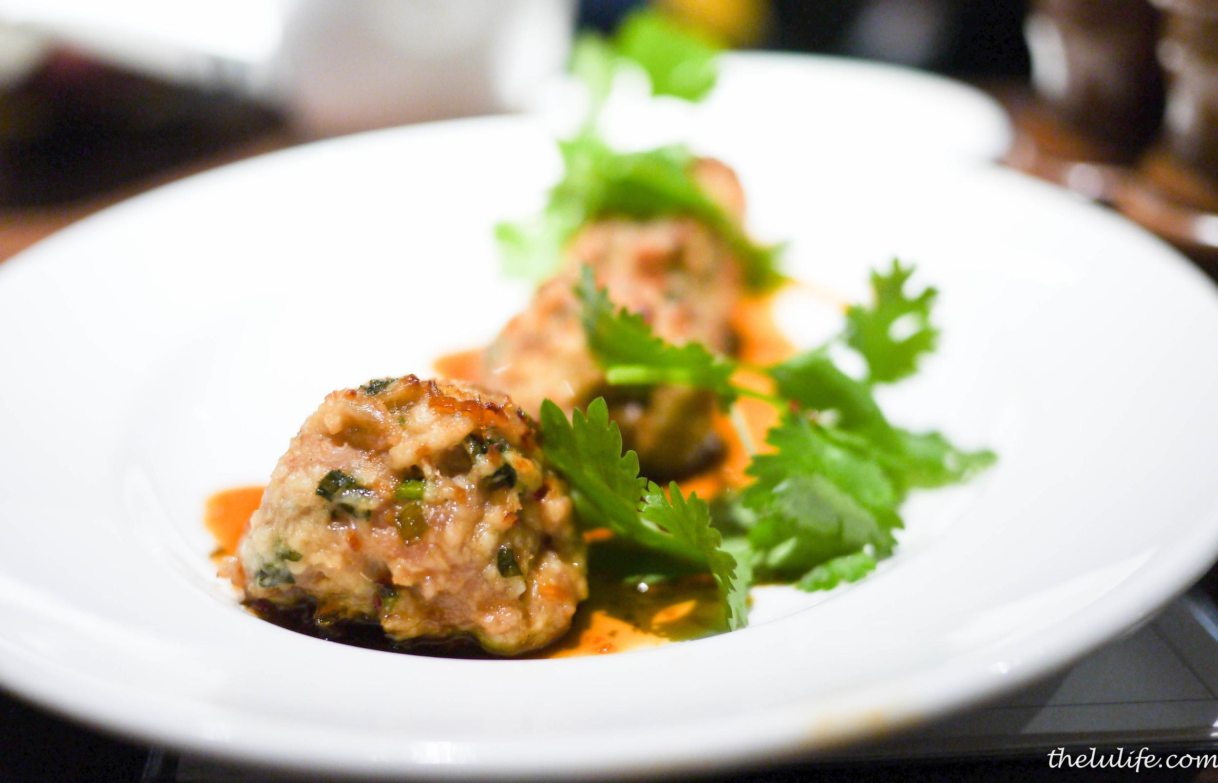 Tsukune in chili cilantro sauce