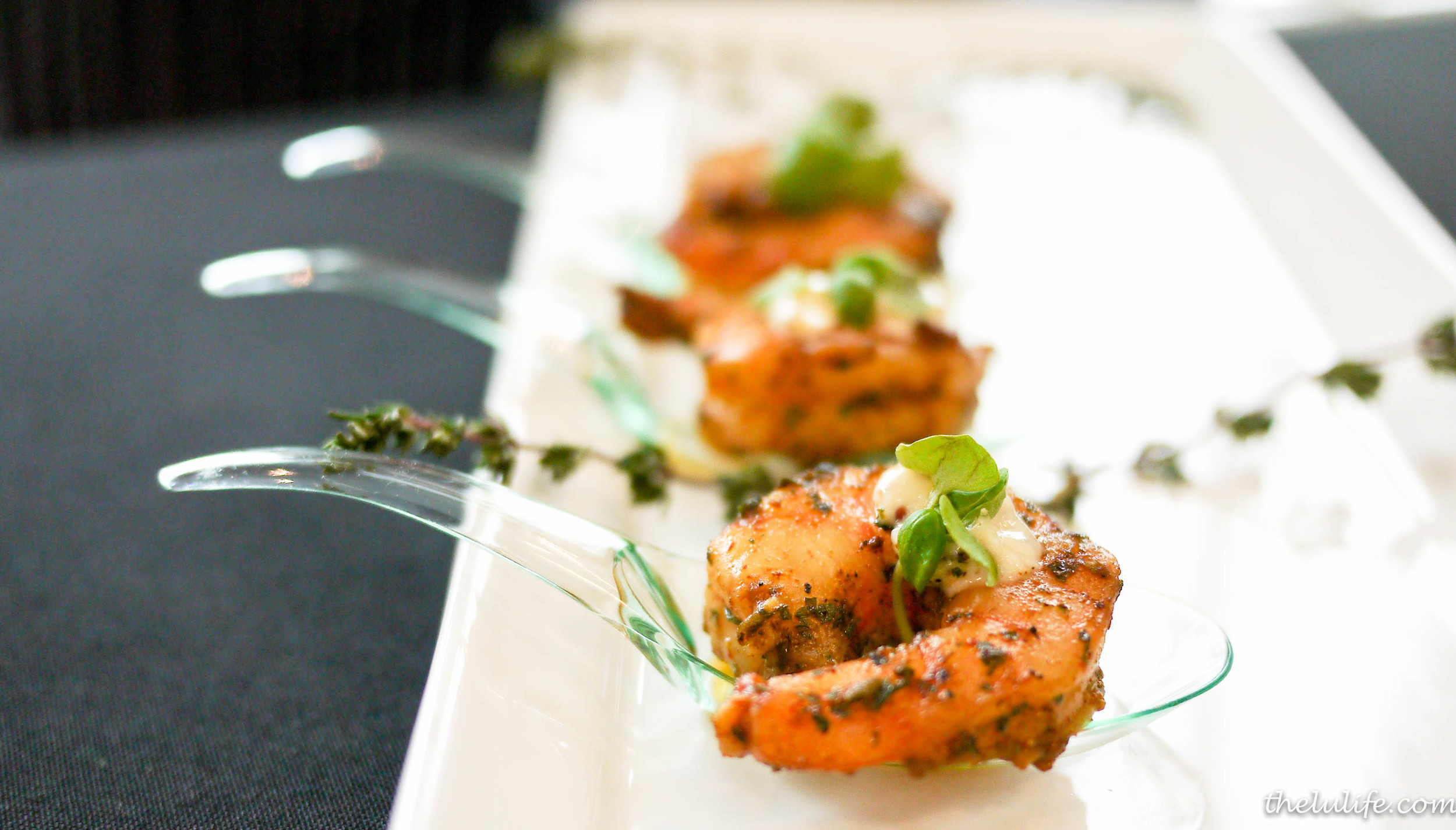 Ancho seared prawns with baby greens and mustard aioli