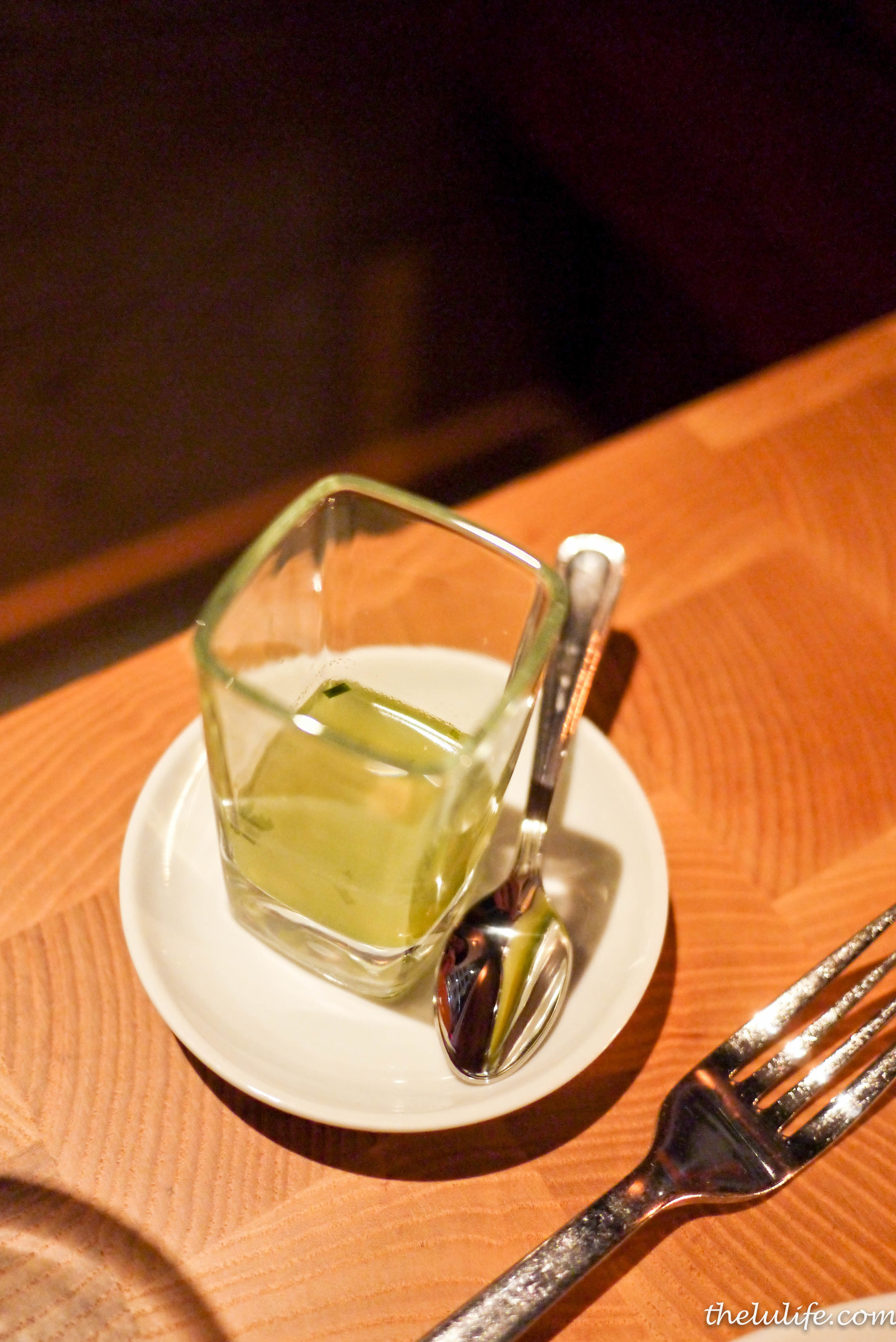 Amuse Bouche: vegetable soup shooter with scallops