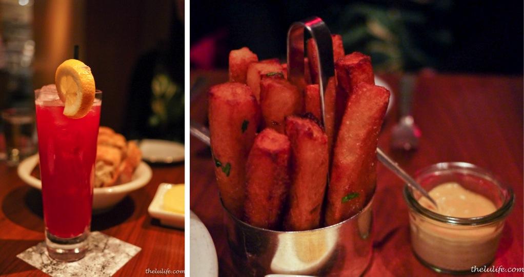 Left: Pomegranate lemonade Right: Triple fried fries