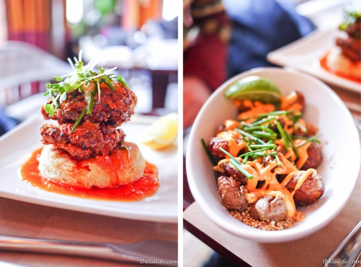Left: Fried chicken and biscuits with Korean chili honey Right: Crispy potatoes with chili and lime
