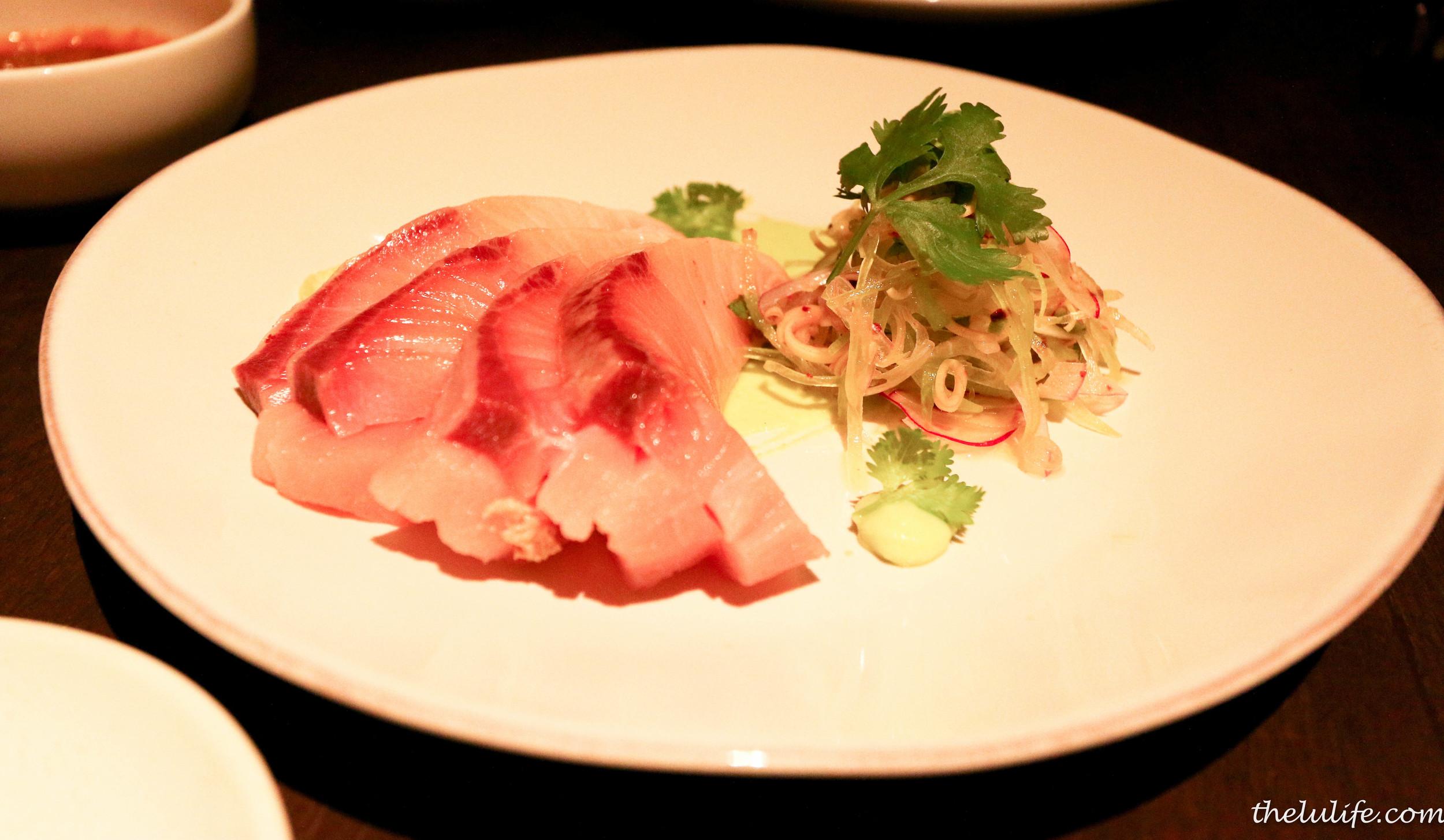 Hamachi with cucumber and lemongrass salad and wasabi puree