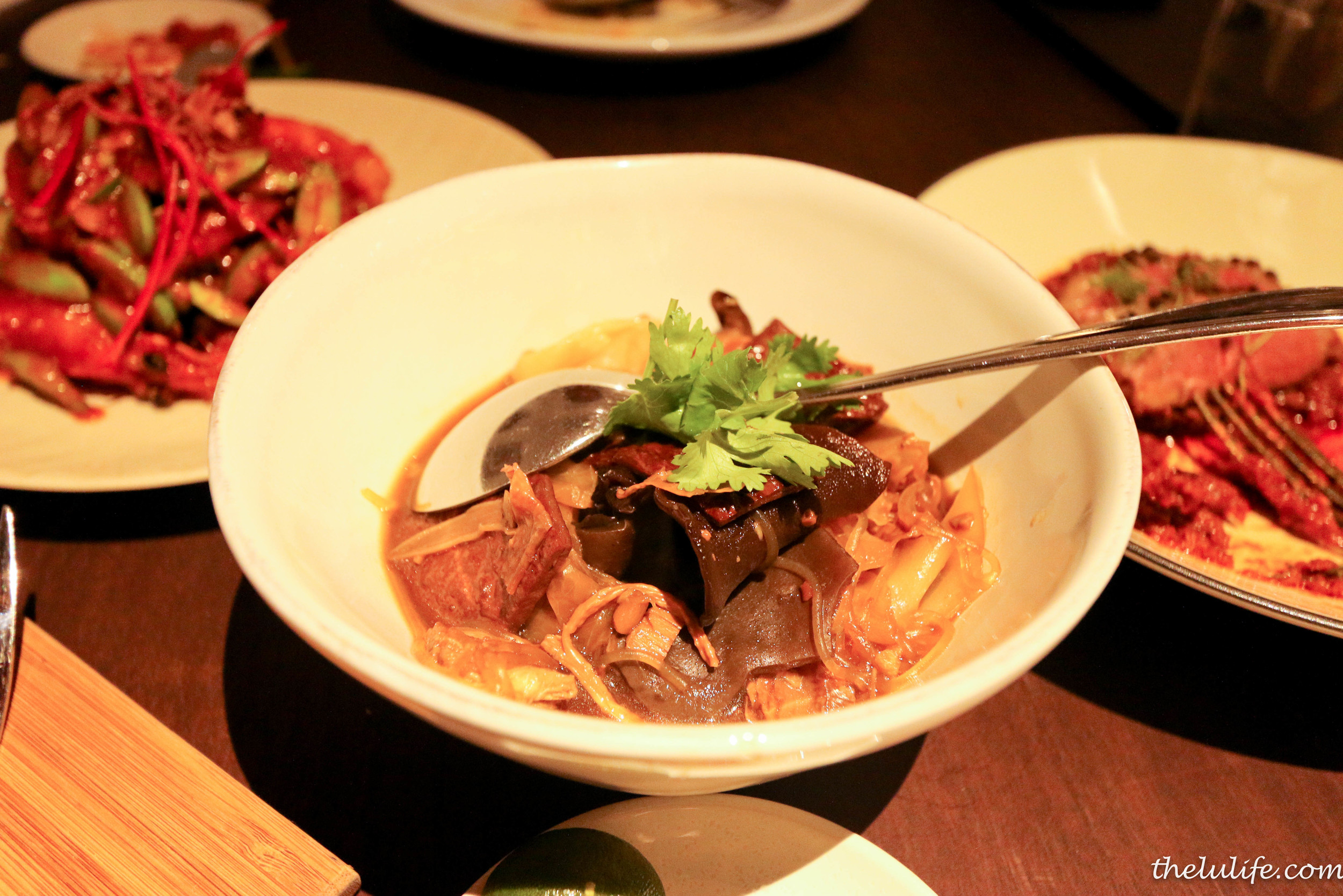 Chap chye - braised cabbage with mushrooms, sweet and dried bean curd, pork belly and black fungus in rich prawn stock gravy