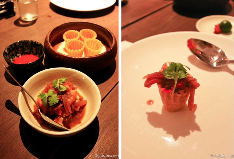"""Kueh Pie Tee - crispy cups (""""top hats"""") with braised turnips, pork belly and prawns"""