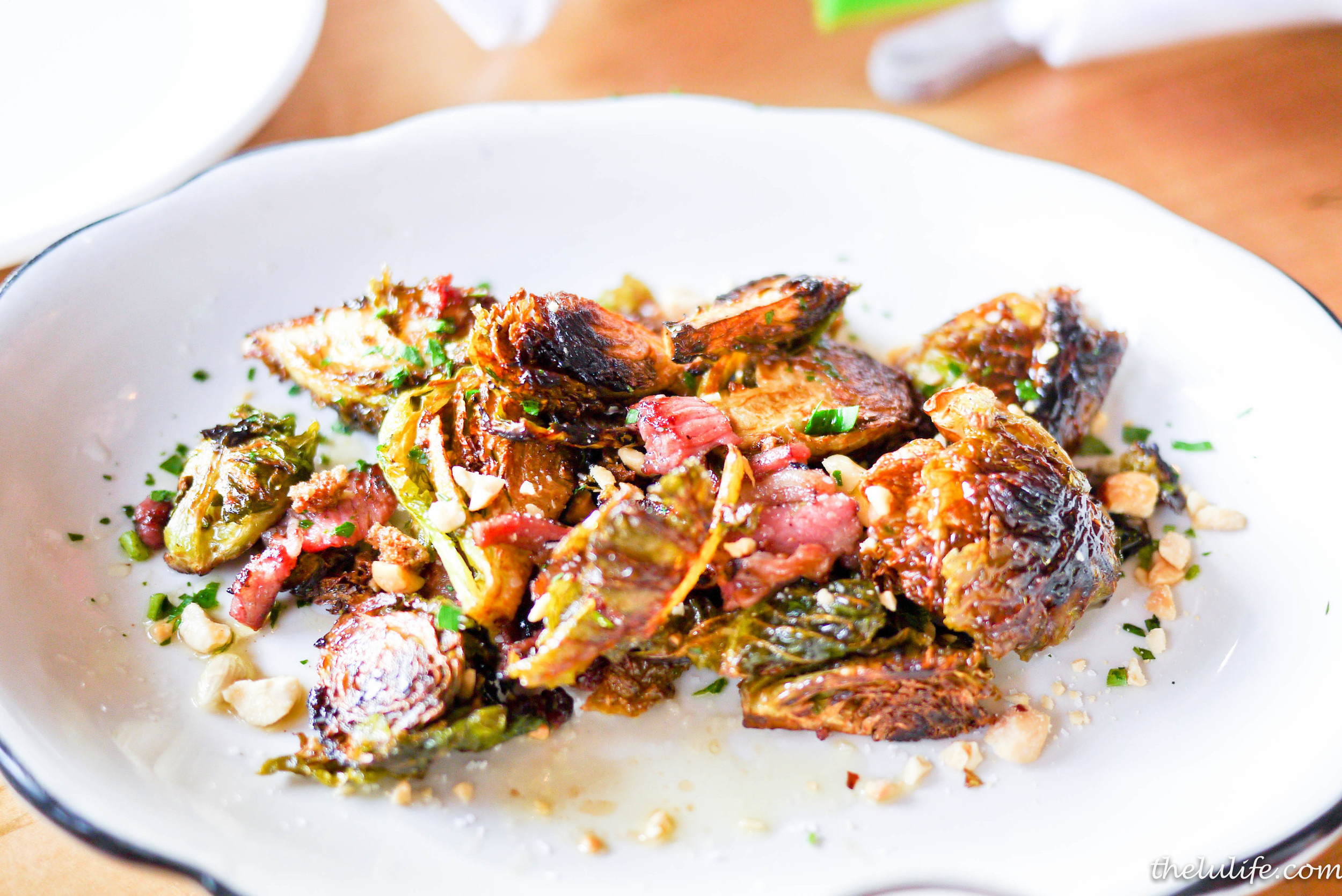 Brussels Sprouts - wok fried with lamb pancetta and maple brown butter
