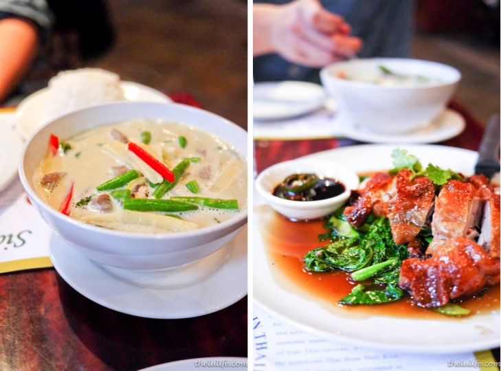 Left: Beef green curry Right: Duck and Chinese broccoli