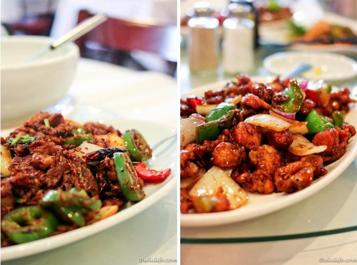 Left: Zi ran yan rou (Cumin lamb) Right: Jiang bao ji ding (Gong pao chicken)