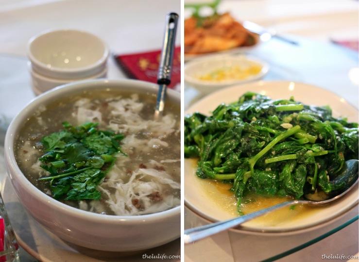 Left: Xihu niu rou gen (West Lake beef soup) Right: Wan dou miao (peashoots)