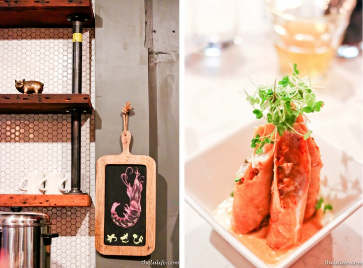 Left: Wasabi sign Right: Pork belly and kimchee spring roll - berkshire pork belly, kimchee, glass noodle, microgreens, house tartar sauce