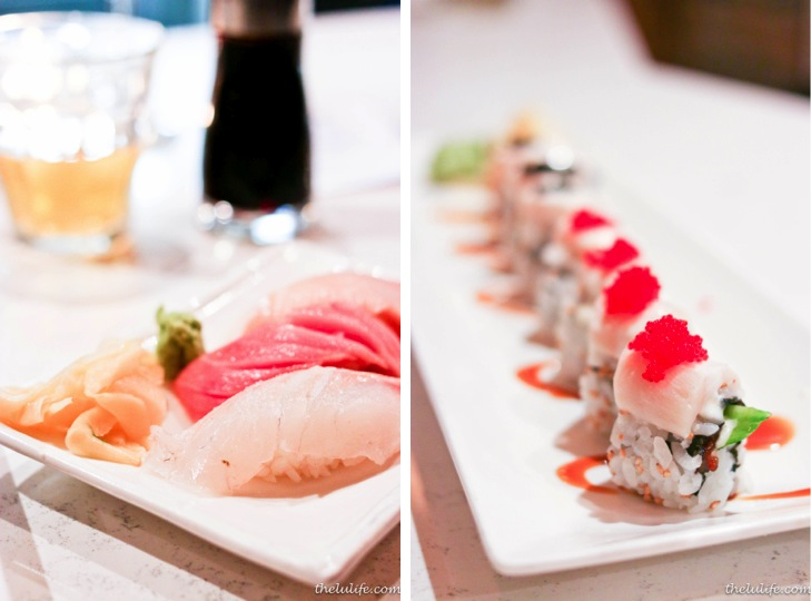 Left: Toro Right: Cubby Bear Maki - seared super white tuna, eel, cucumber, crab salad, black and red tobiko, eel sauce, ginger mayo, sesame