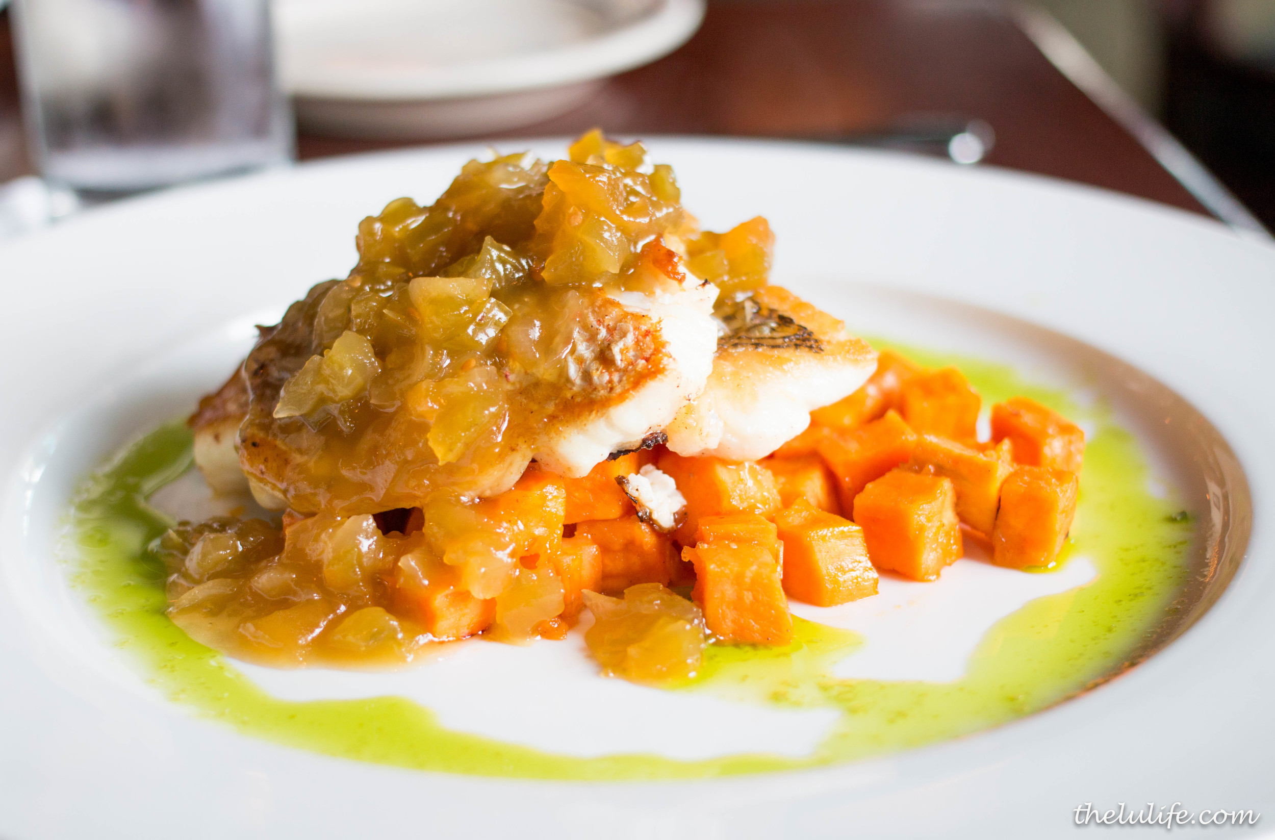 Pan seared snapper with lemon glazed sweet potatoes and green tomato jam
