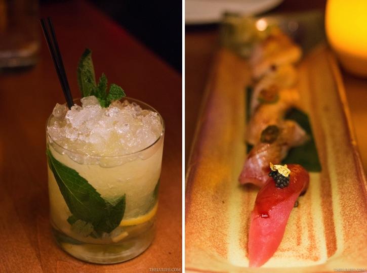Left: Shochu Smash - mango Thai chili shochu, orange and lemon wheels, fresh mint Right: Modern nigiri selection (front: tuna topped with caviar and a gold flake)