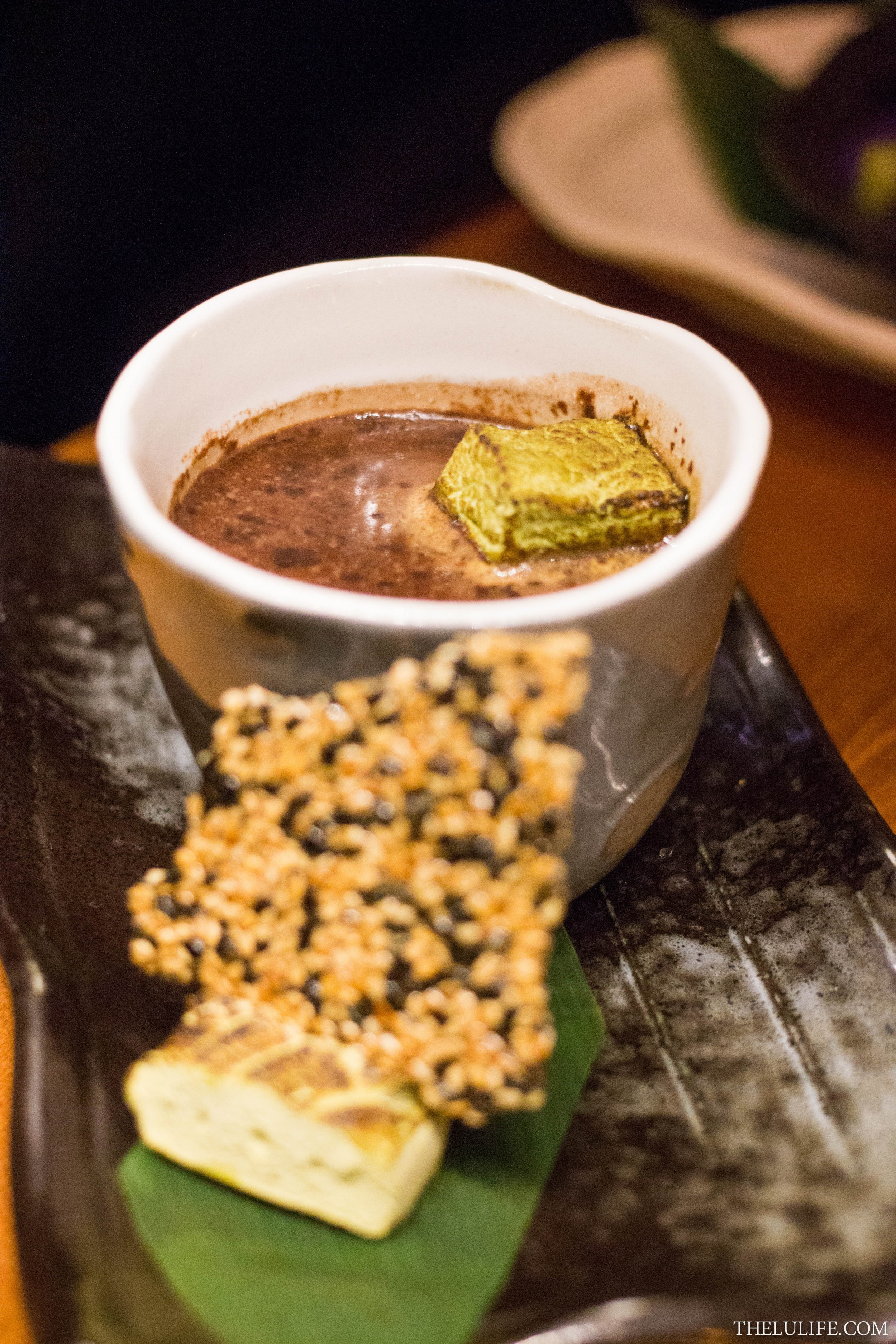 Spiced hot chocolate with housemade green tea marshmallow
