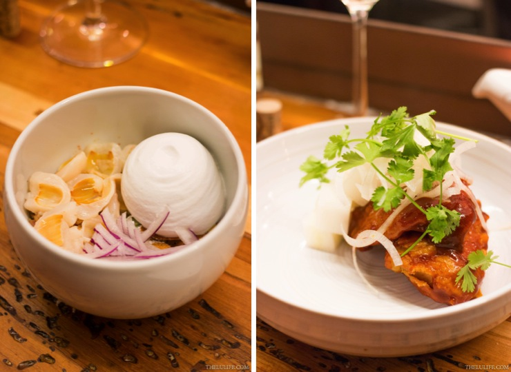 Left: Pork sausage, habanero and lychee salad  Right: Korean fried catfish with cilantro and pickled daikon