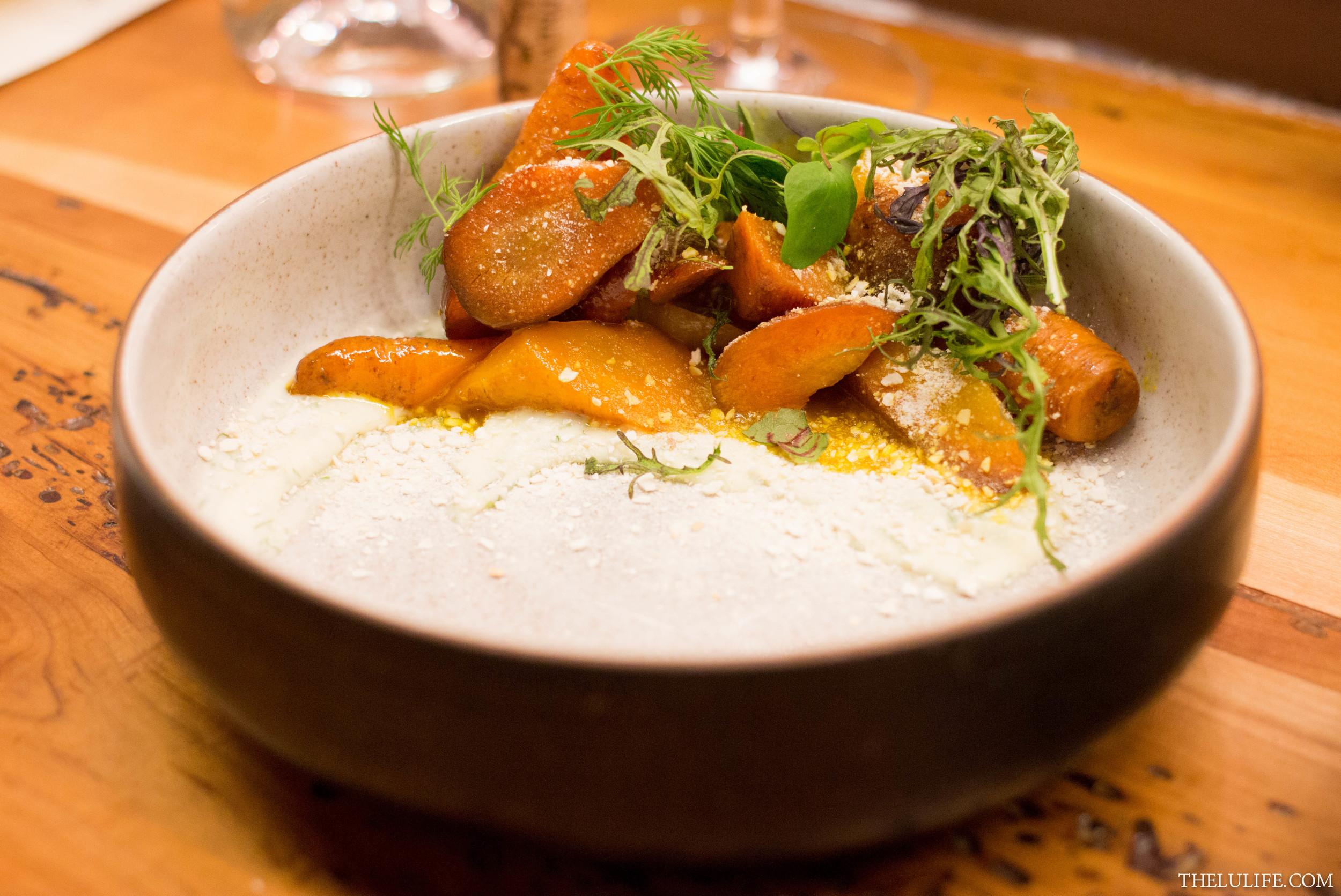 Honey-glazed carrots, mascarpone, matzo meal and dill