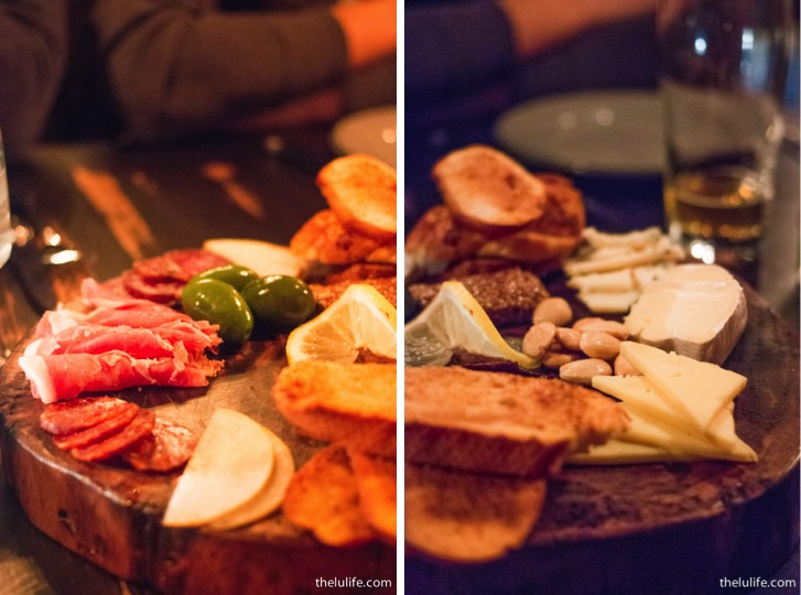 Charcuterie board- chef's choice of meat and cheese accompanied with cerignola olives