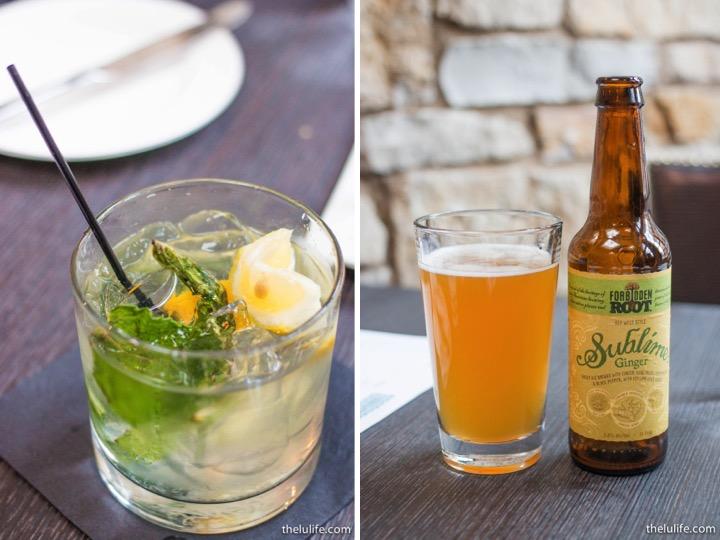 Left: Lemon smash with mint and vodka Right: Forbidden Root ginger beer