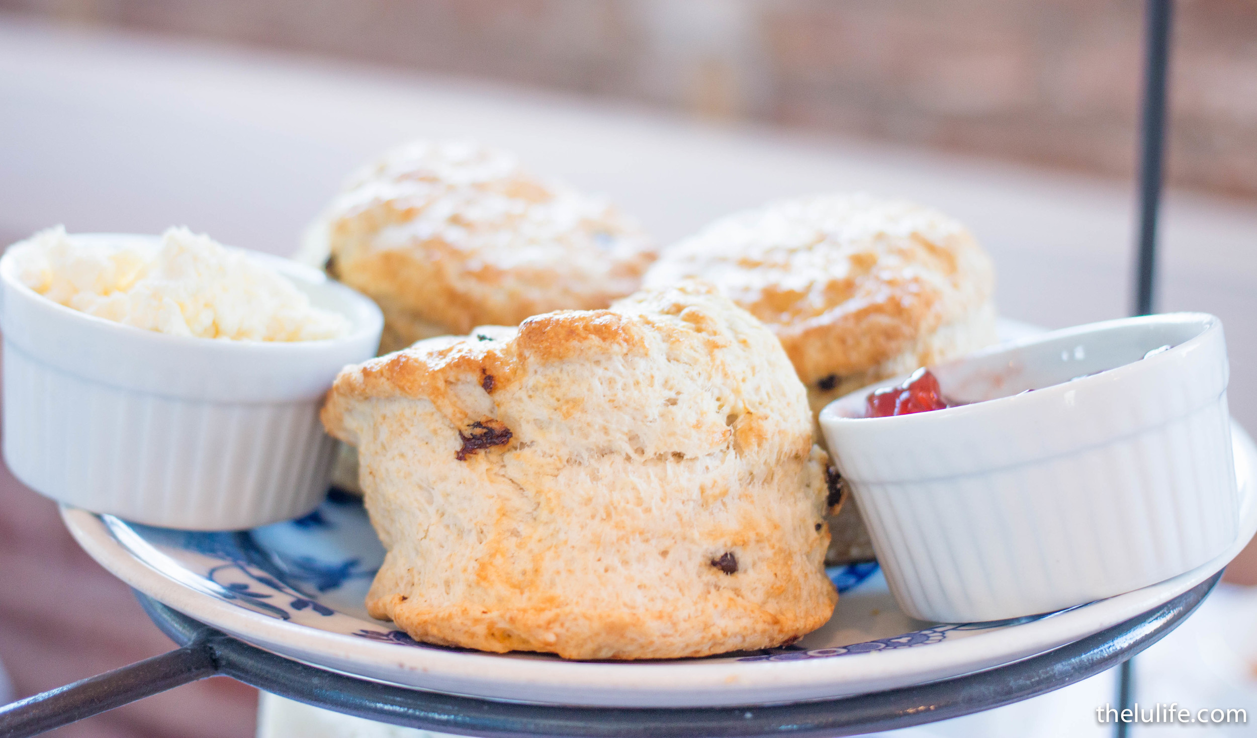 English scone with Devonshire clotted cream and strawberry jam