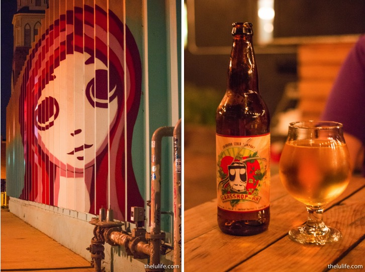 Left: Art on Larimer St. Right: Colorado Cider Co. Grass-hoppah Cider