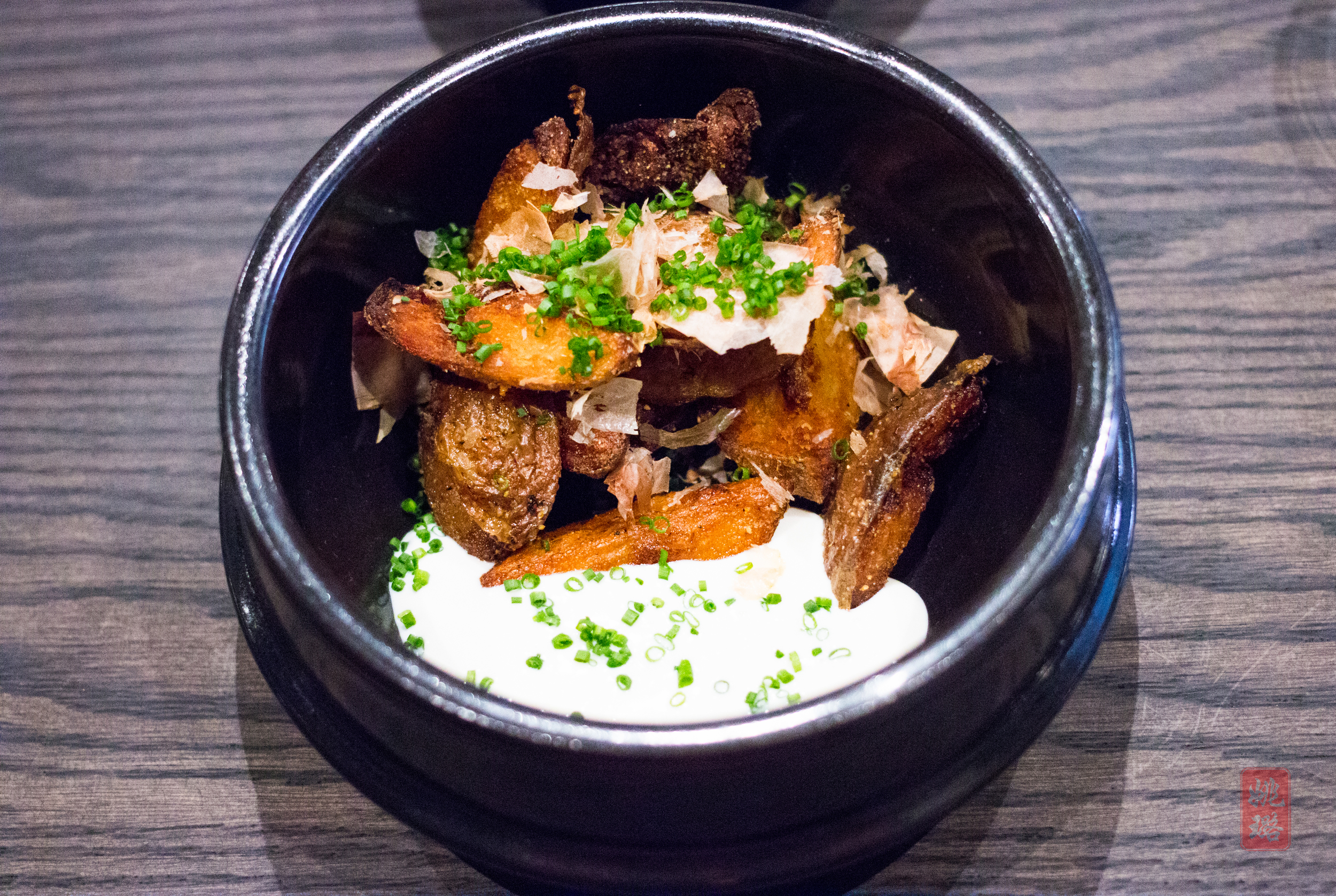 Yukon fries - soy dusted, bonito flakes, rice vinegar, tofu mayo