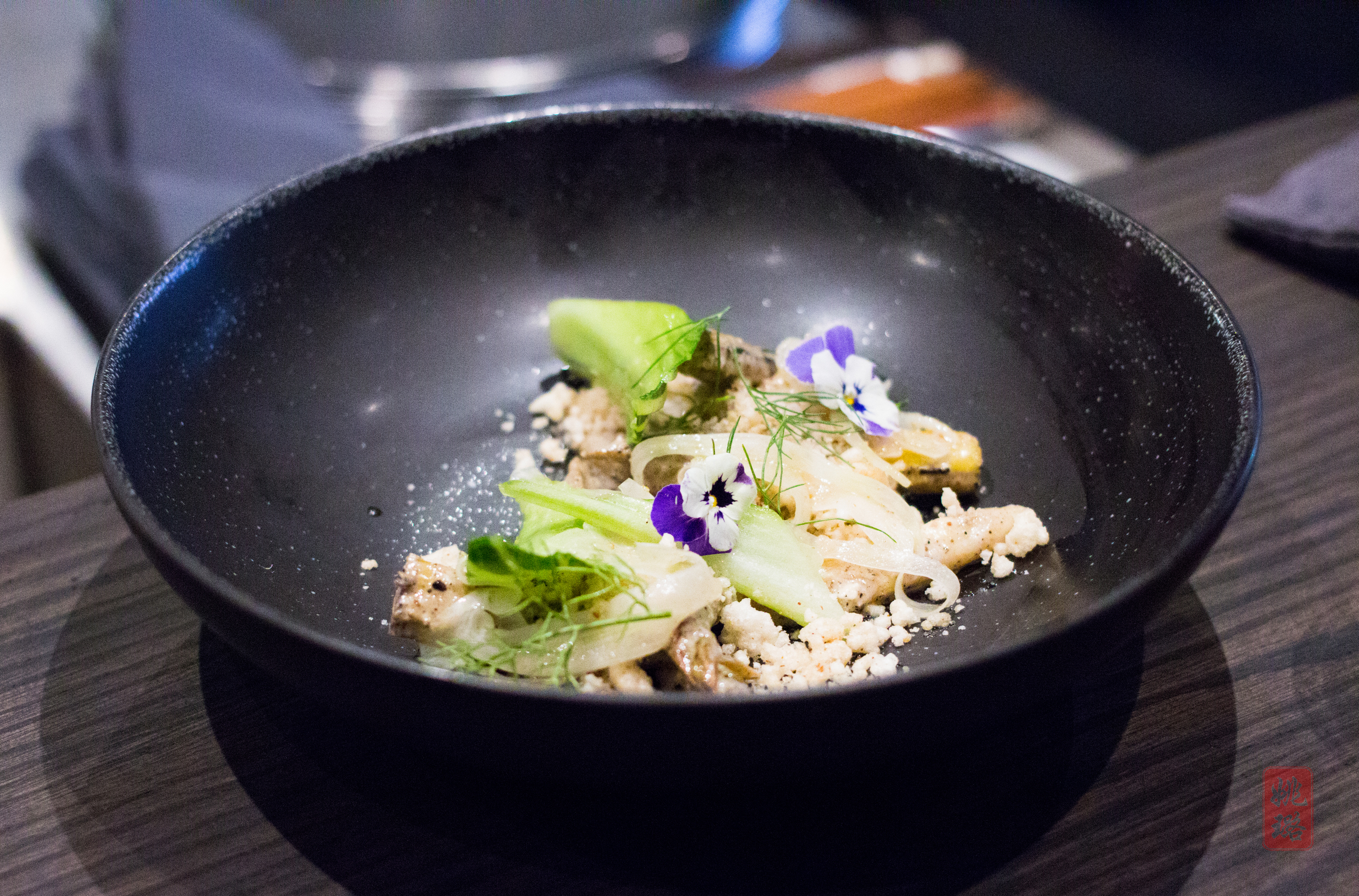 Grilled asparagus salad - macadamia nut dressing, fennel, rice