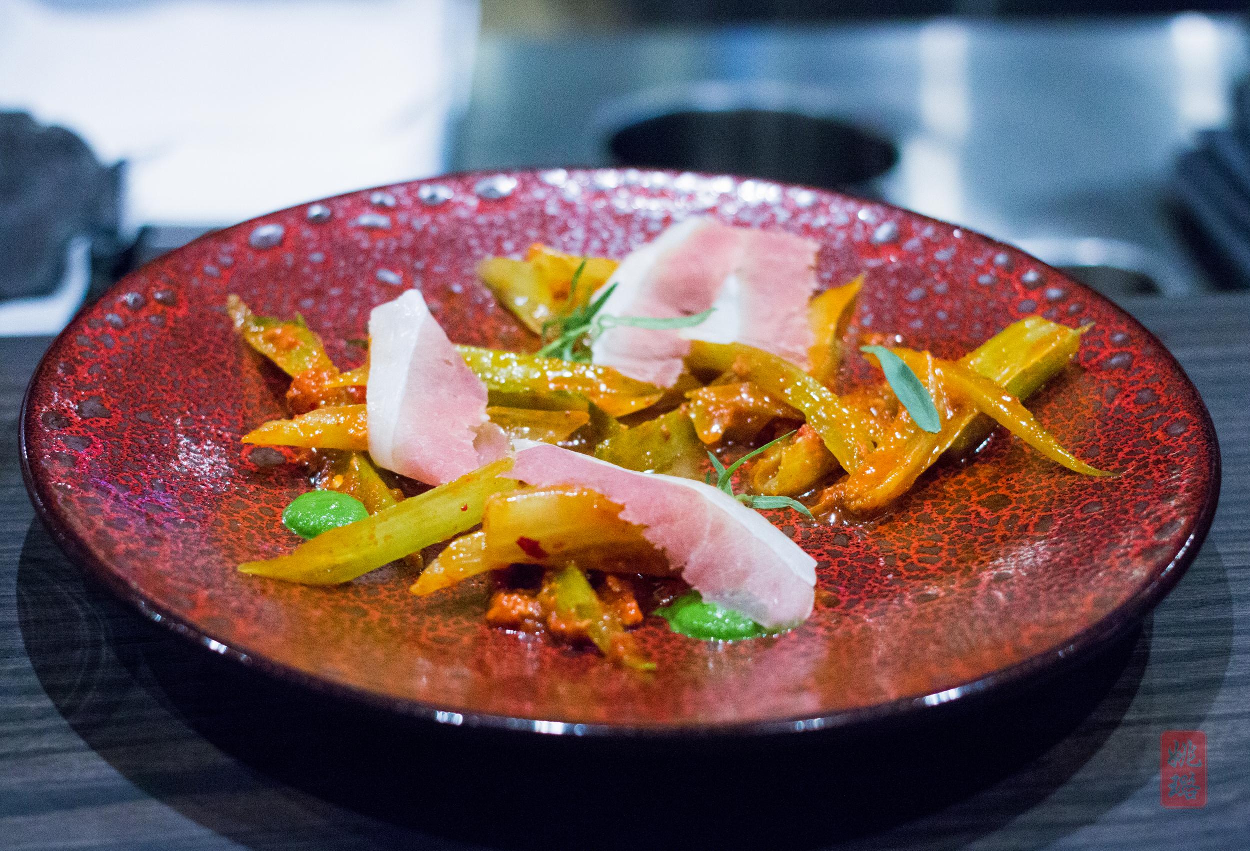 Romaine stem salad - leaf puree, 'nduja vinaigrette, country ham