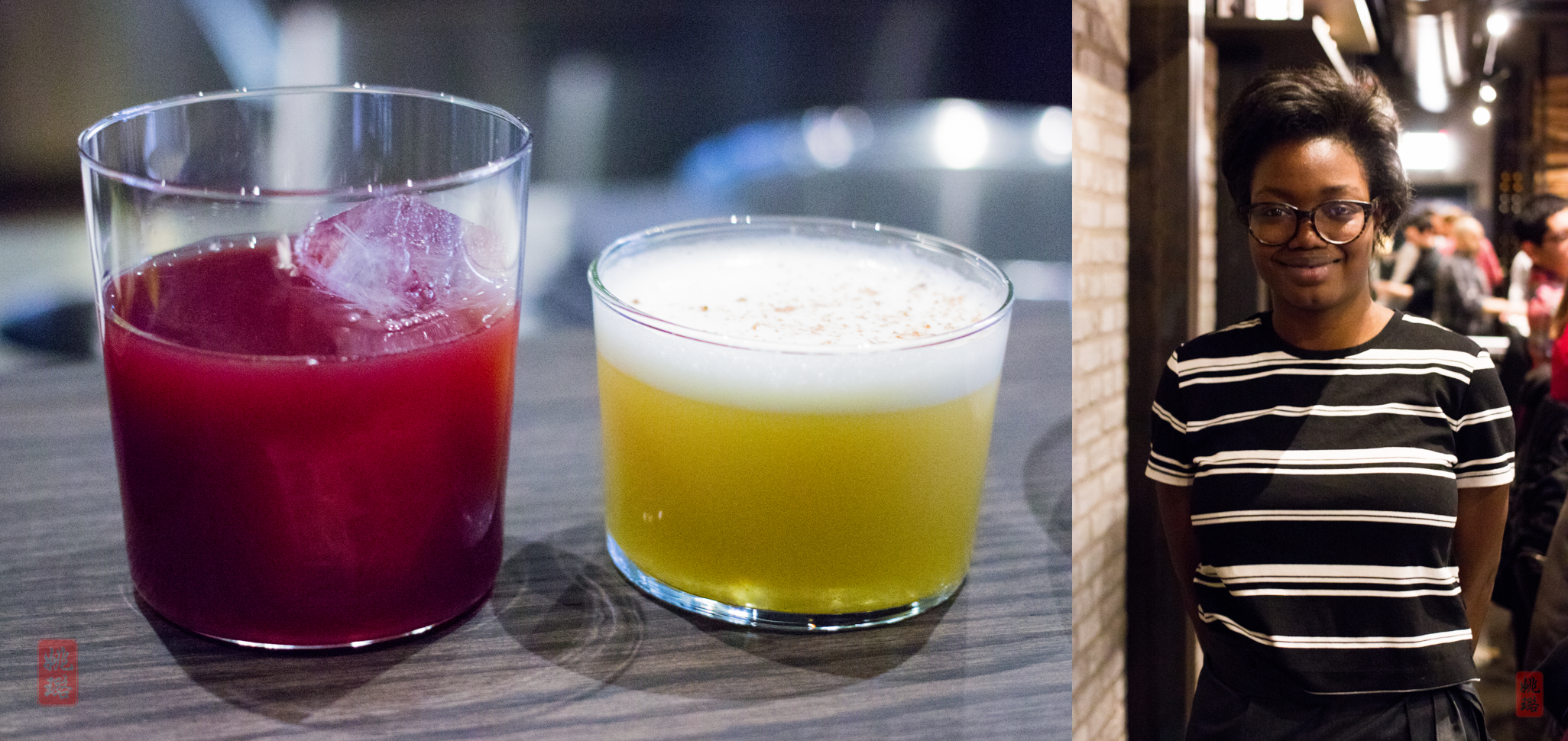 Drink on left: The Resurrected Panda; drink on right: A Sour in the Key of Raffi; right: Aleichia