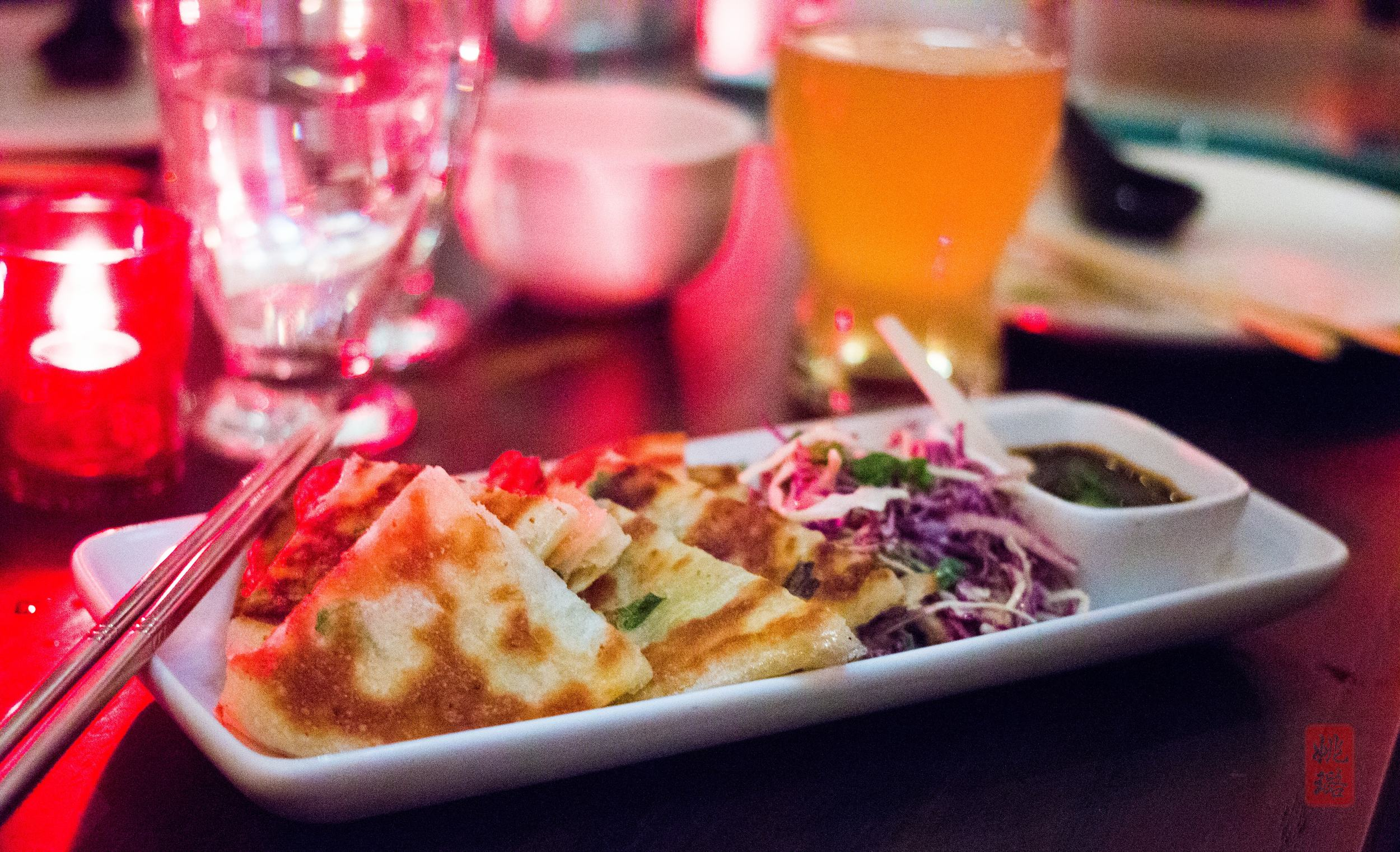 Scallion pancakes - coleslaw and hoison sauce