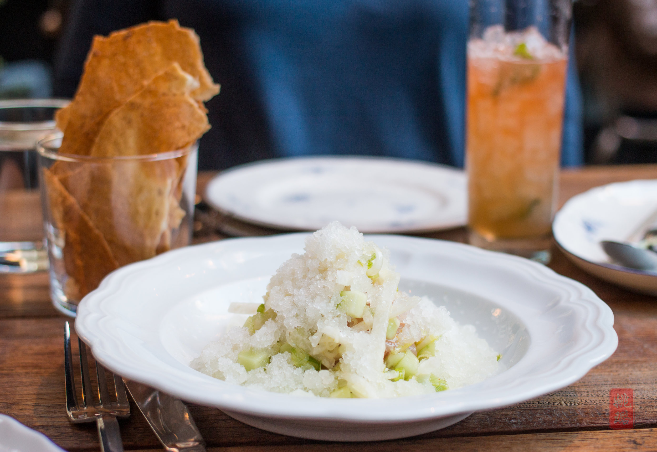 Red snapper ceviche with avocado, jicama, cucumber, and lime