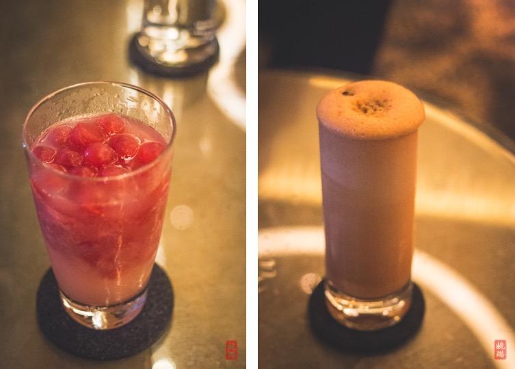Left - Zombie Panda:lemon, raspberry ice, lychee pisco  Right -Carrot Cake Ramos:rooibos, cream cheese, walnut, typical spice