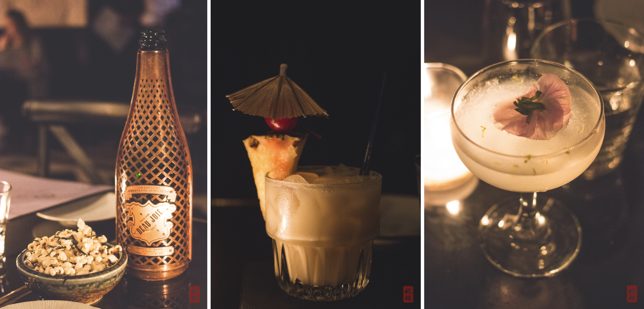 Left: Nori popcorn  Middle:Parrot cries with its body - bumbu rum, fresh pineapple, cream of coconut, yuzu  Right:Mist whispers like woman - titos vodka, korean plum, lime