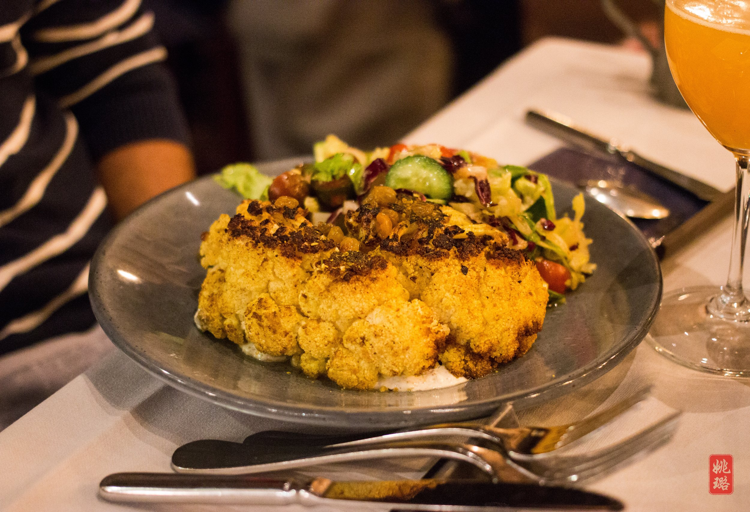 IMG_1859 Black Barn - curried cauliflower steak with cilantro raita, summer salad, toasted pine nuts and pickled raisins_2.jpg