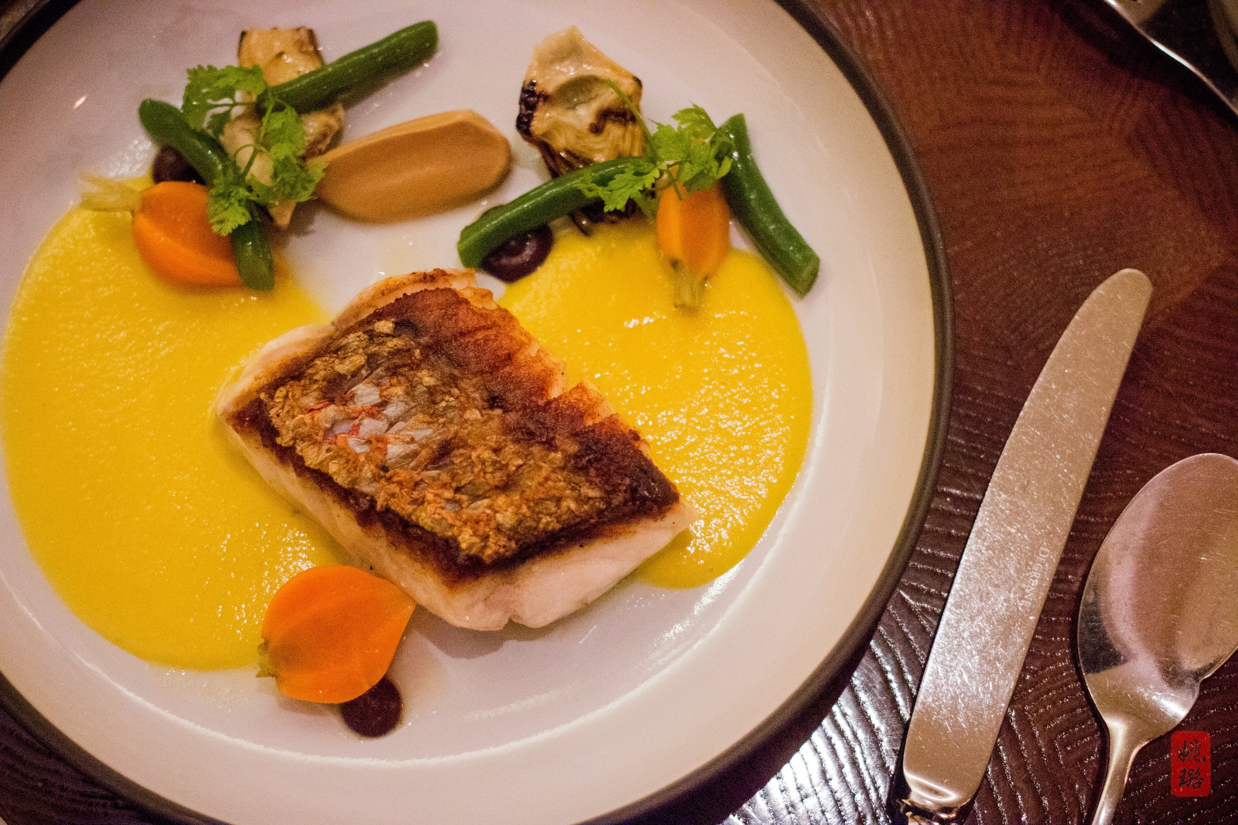 IMG_7551 Batard - Red snapper, sauce barigoule, thumbelina carrots, hericot verts, black olives.jpg