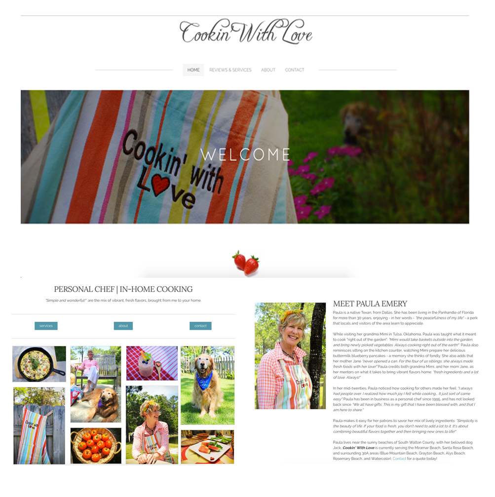 Client: Chef Paula Emery | Personal Chef - Worked closely with client to 're-vamp' her long-time catering brand, Cookin' With Love by Paula, by establishing a strong online presence through web and social media outlets.Deliverables: website, Facebook page, Instagram feed.