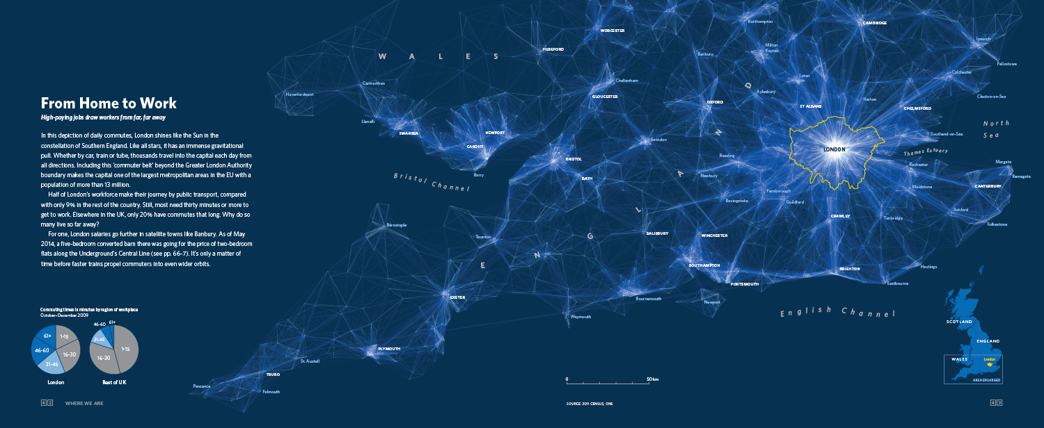 In this depiction of daily commutes, London shines like the Sun in the constellation of Southern England. Like all stars, it has an immense gravitational pull. Whether by car, train or tube, thousands travel into the capital each day from all directions.