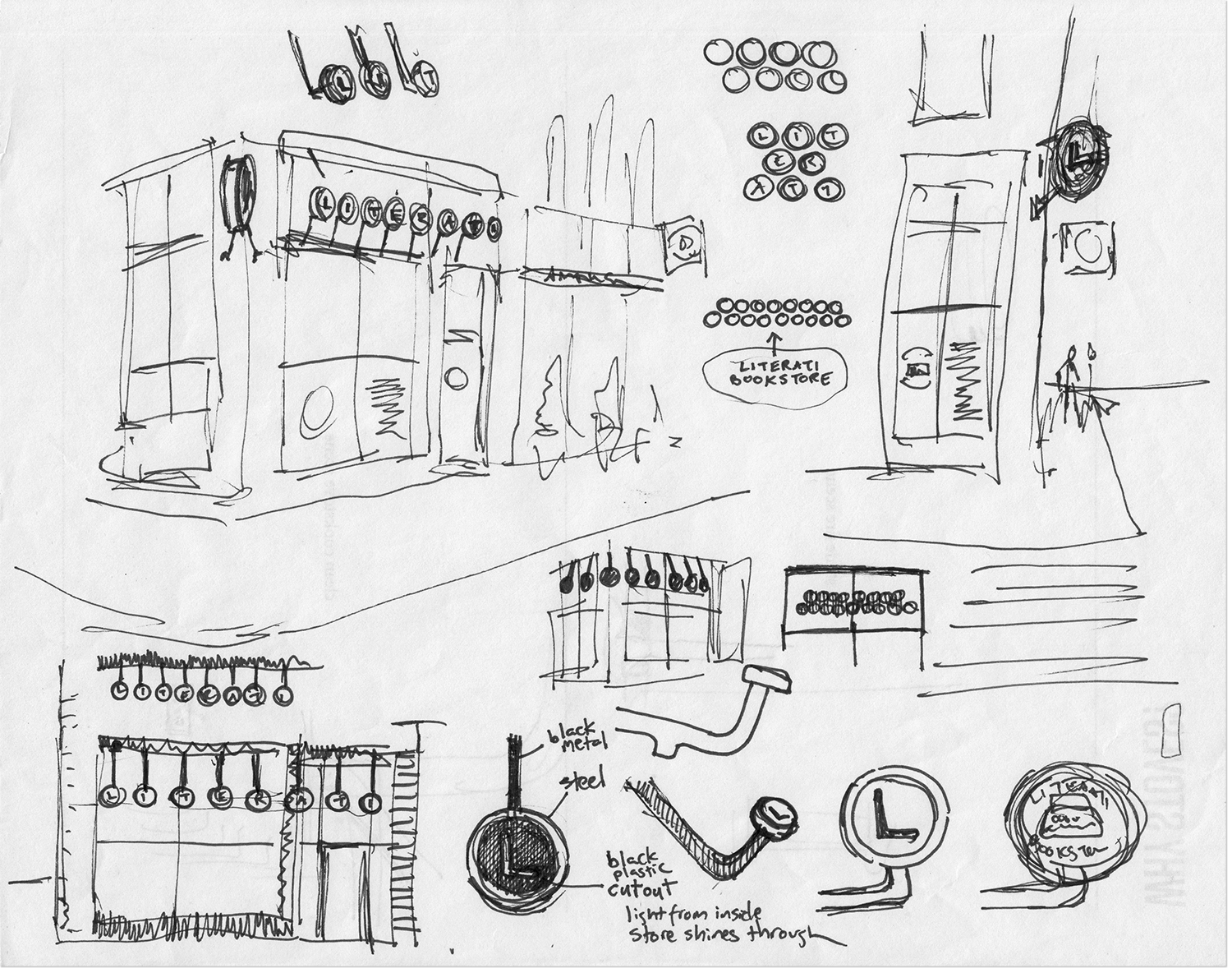 My first sketches for the storefront sign at Literati Bookstore were drawn at Zingerman's.