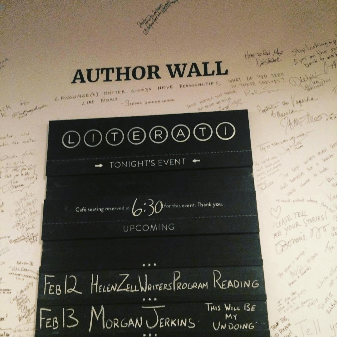 The sign at home among the words of writers.